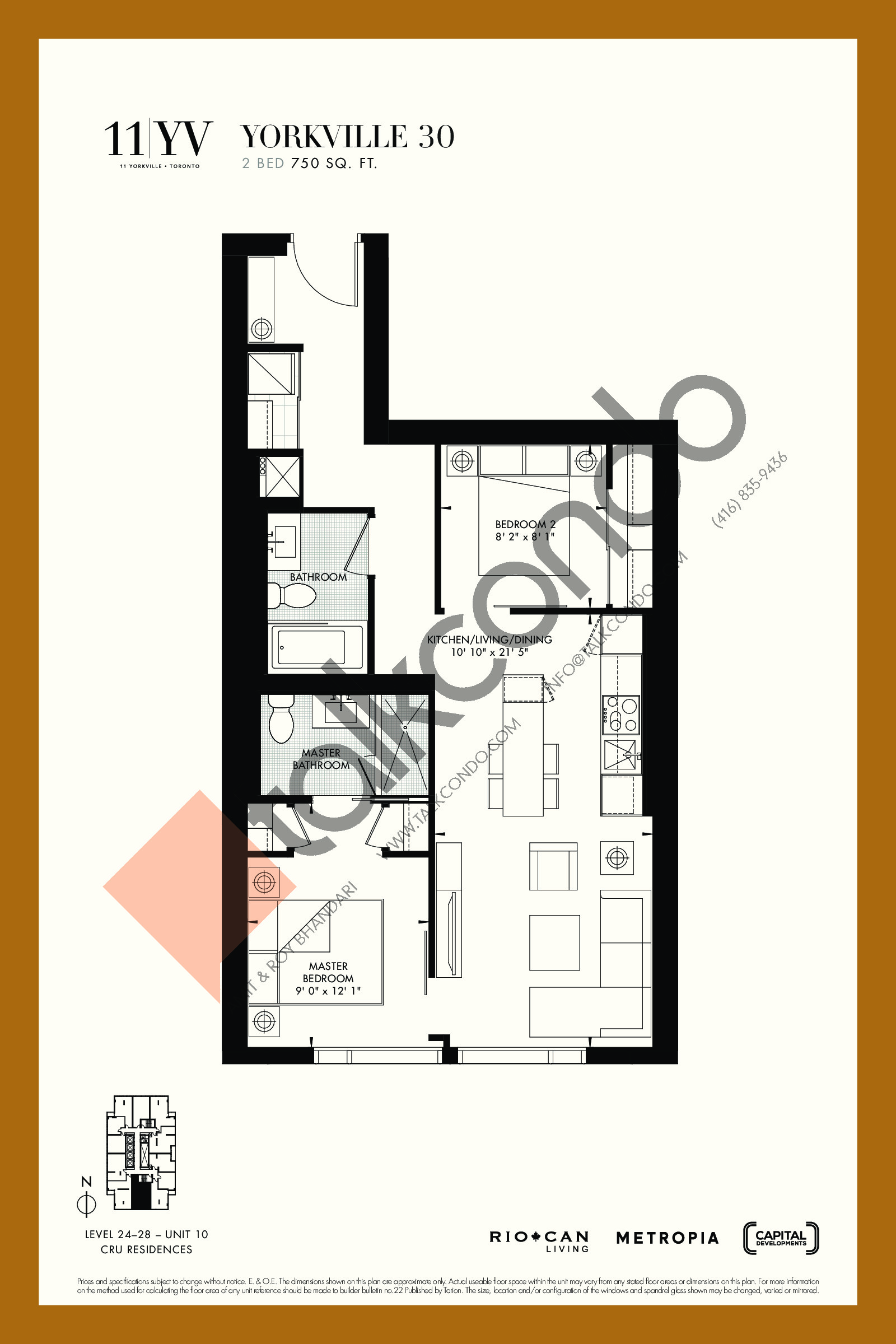 Yorkville 30 Floor Plan at 11YV Condos - 750 sq.ft