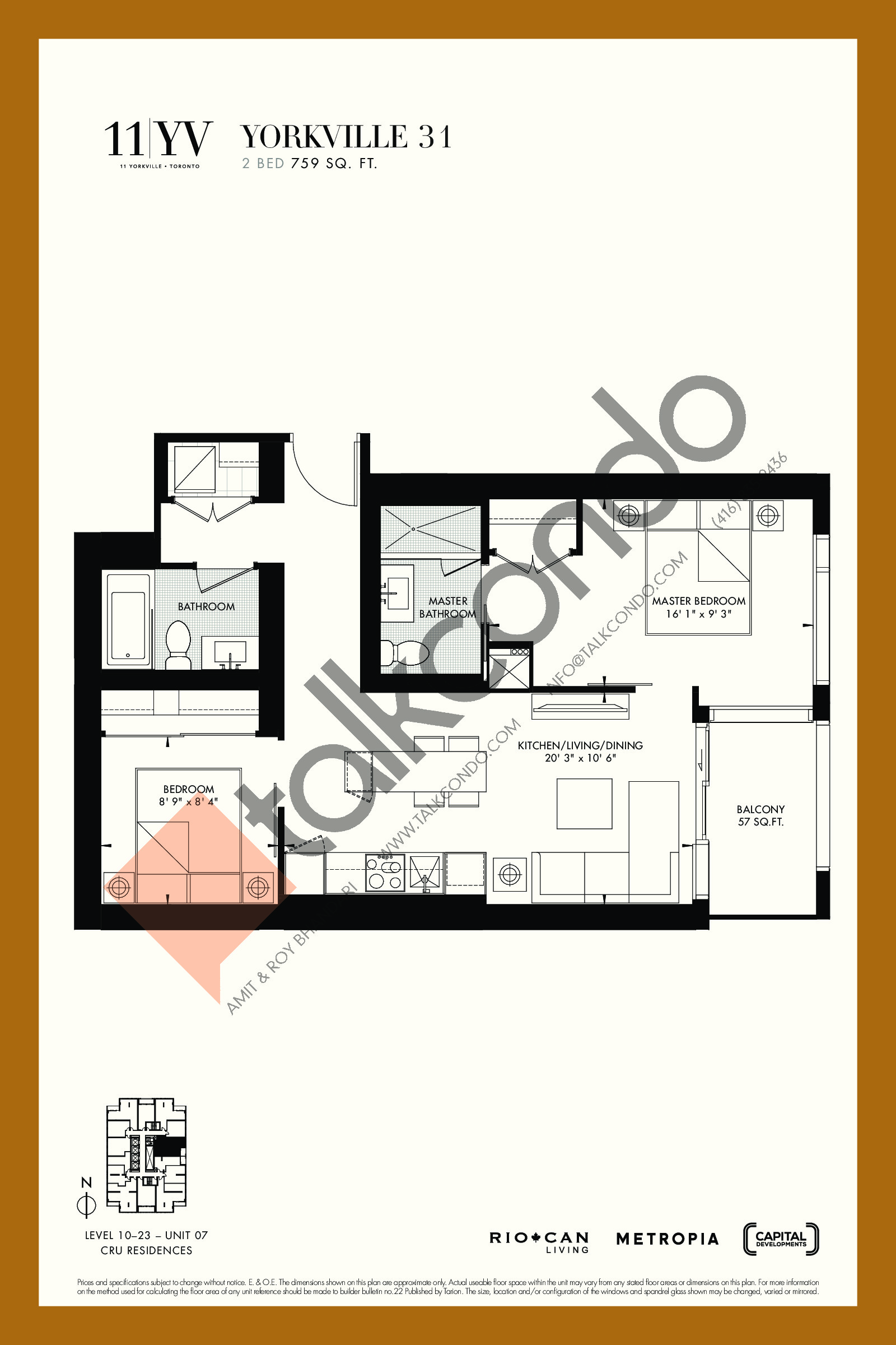Yorkville 31 Floor Plan at 11YV Condos - 759 sq.ft