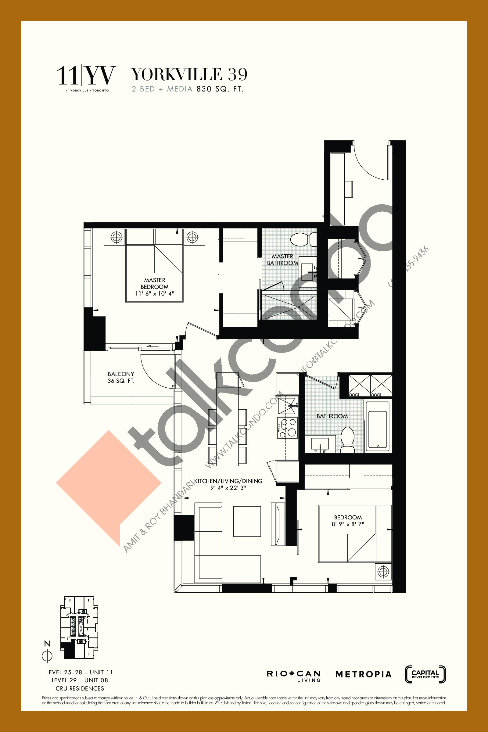 Yorkville 39 Floor Plan at 11YV Condos - 830 sq.ft