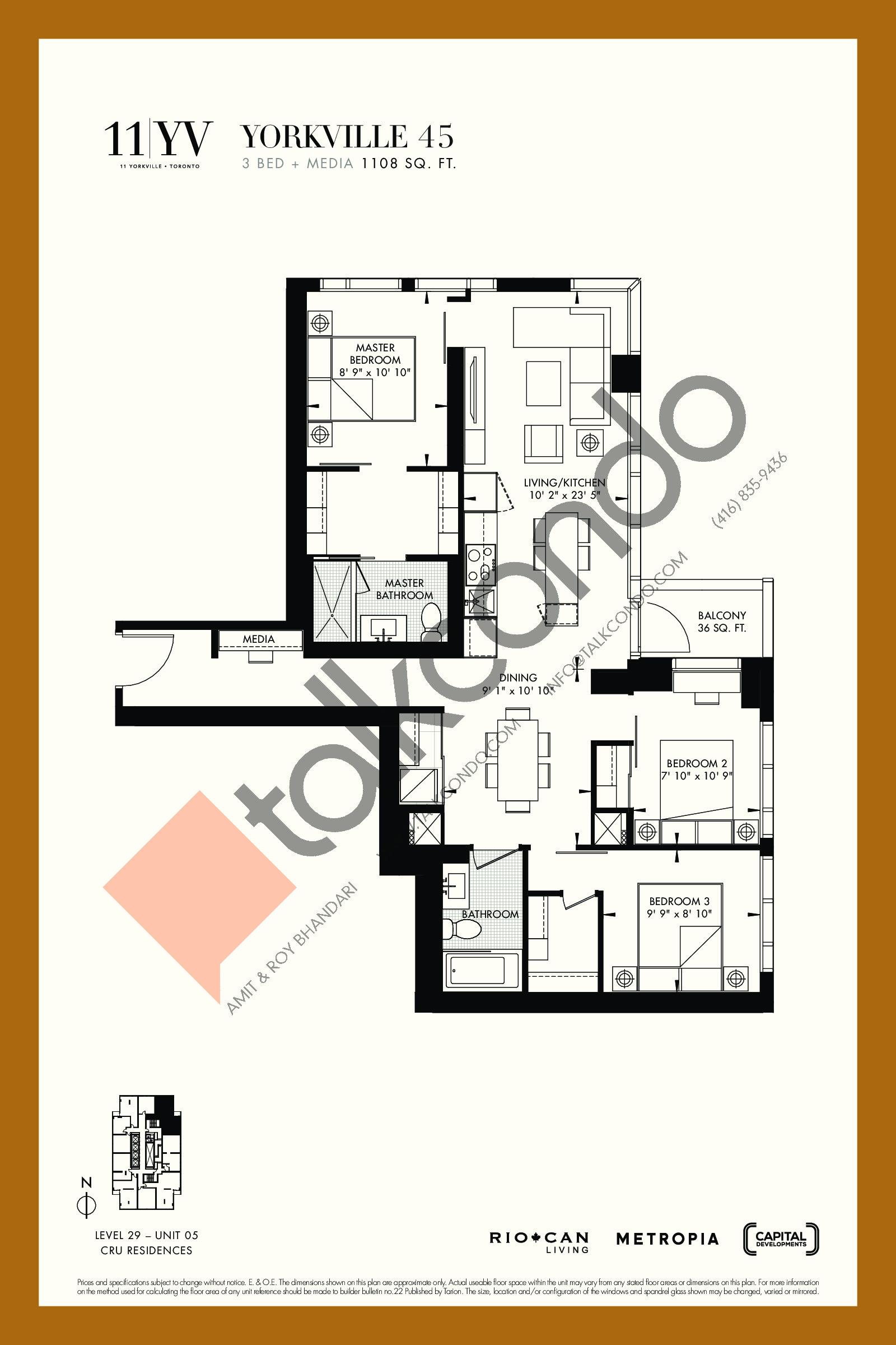 Yorkville 45 Floor Plan at 11YV Condos - 1108 sq.ft