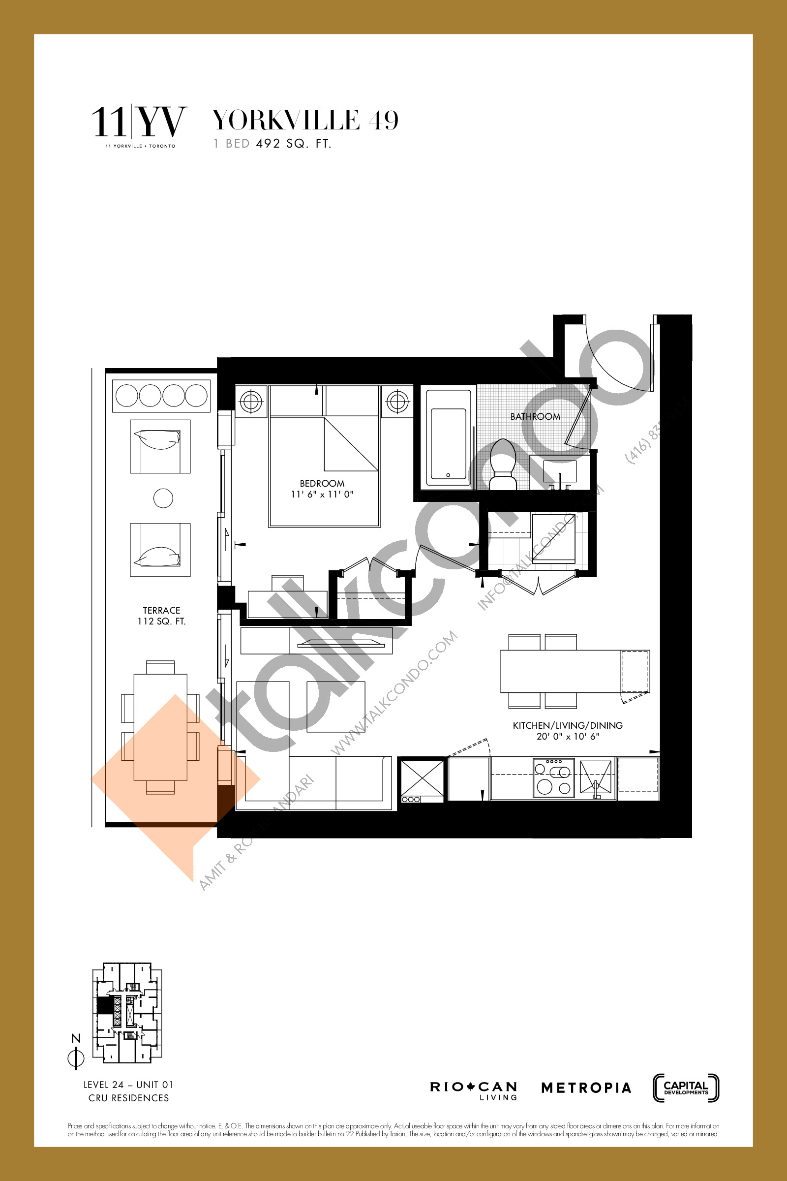Yorkville 49 Floor Plan at 11YV Condos - 492 sq.ft