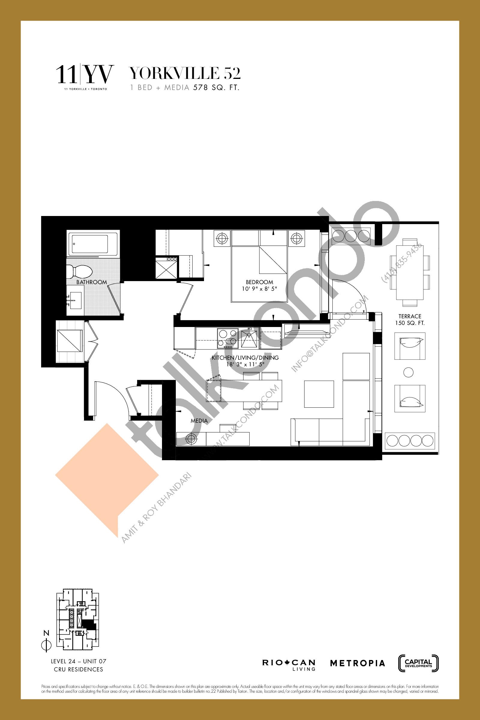 Yorkville 52 Floor Plan at 11YV Condos - 578 sq.ft