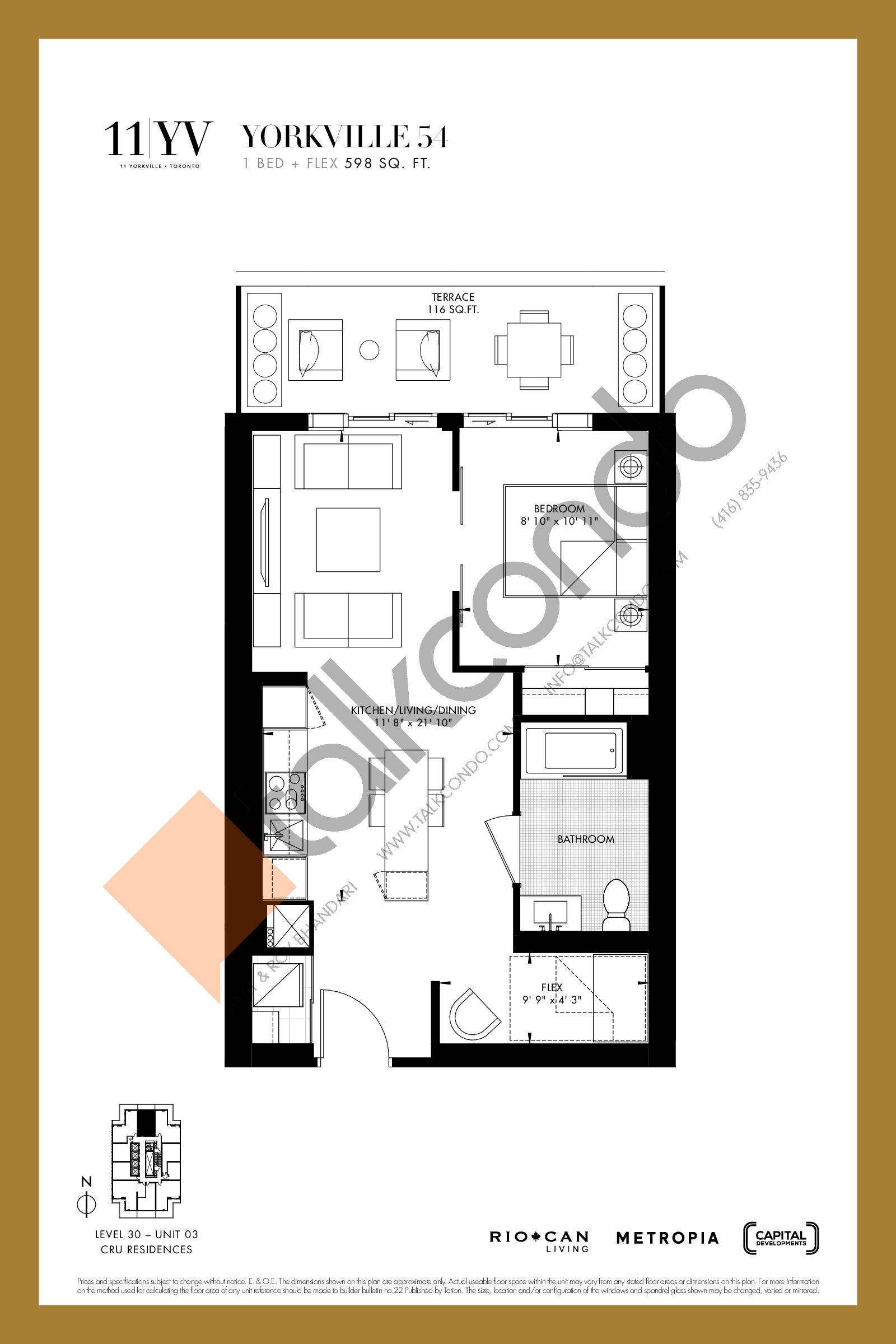 Yorkville 54 Floor Plan at 11YV Condos - 598 sq.ft