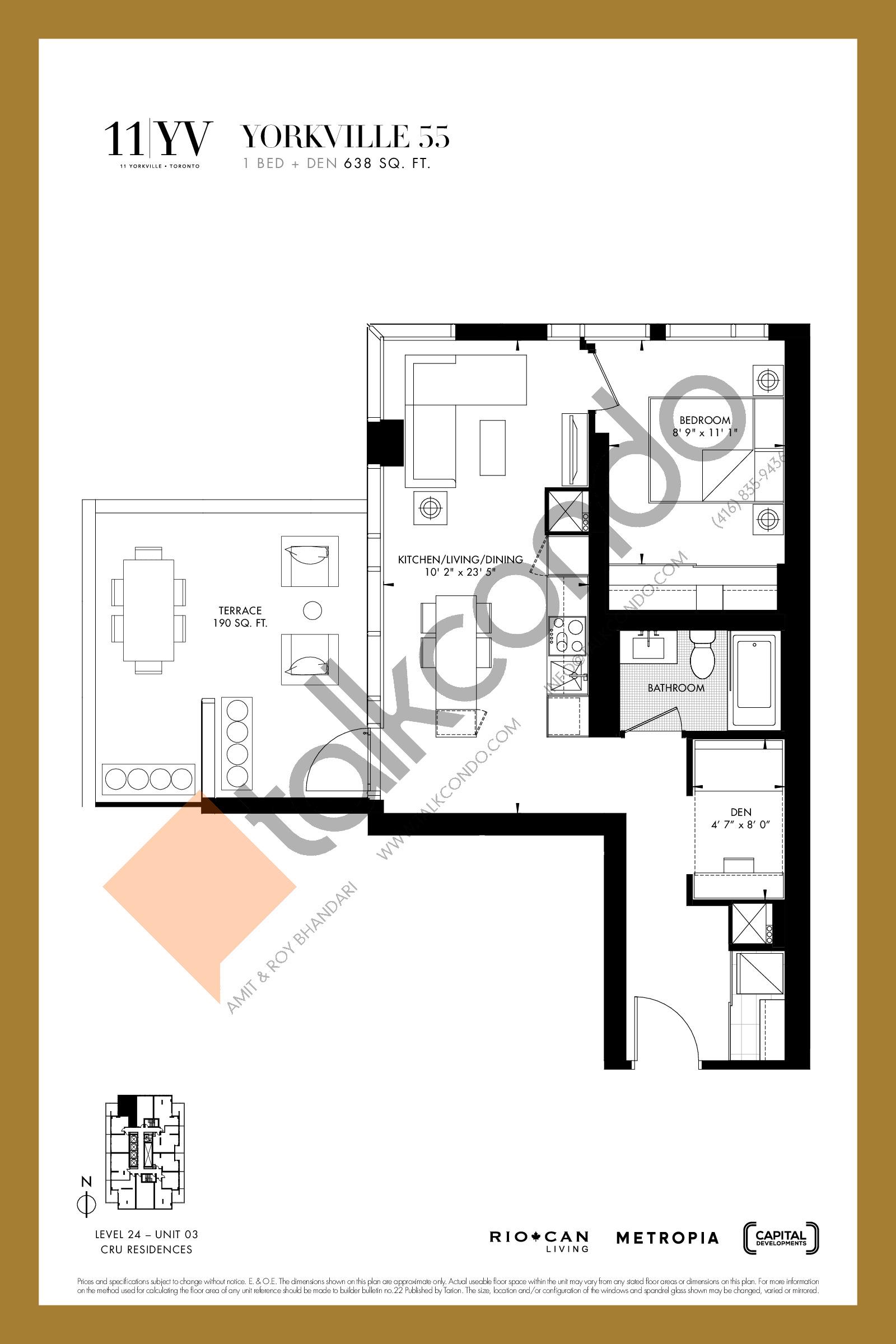 Yorkville 55 Floor Plan at 11YV Condos - 638 sq.ft