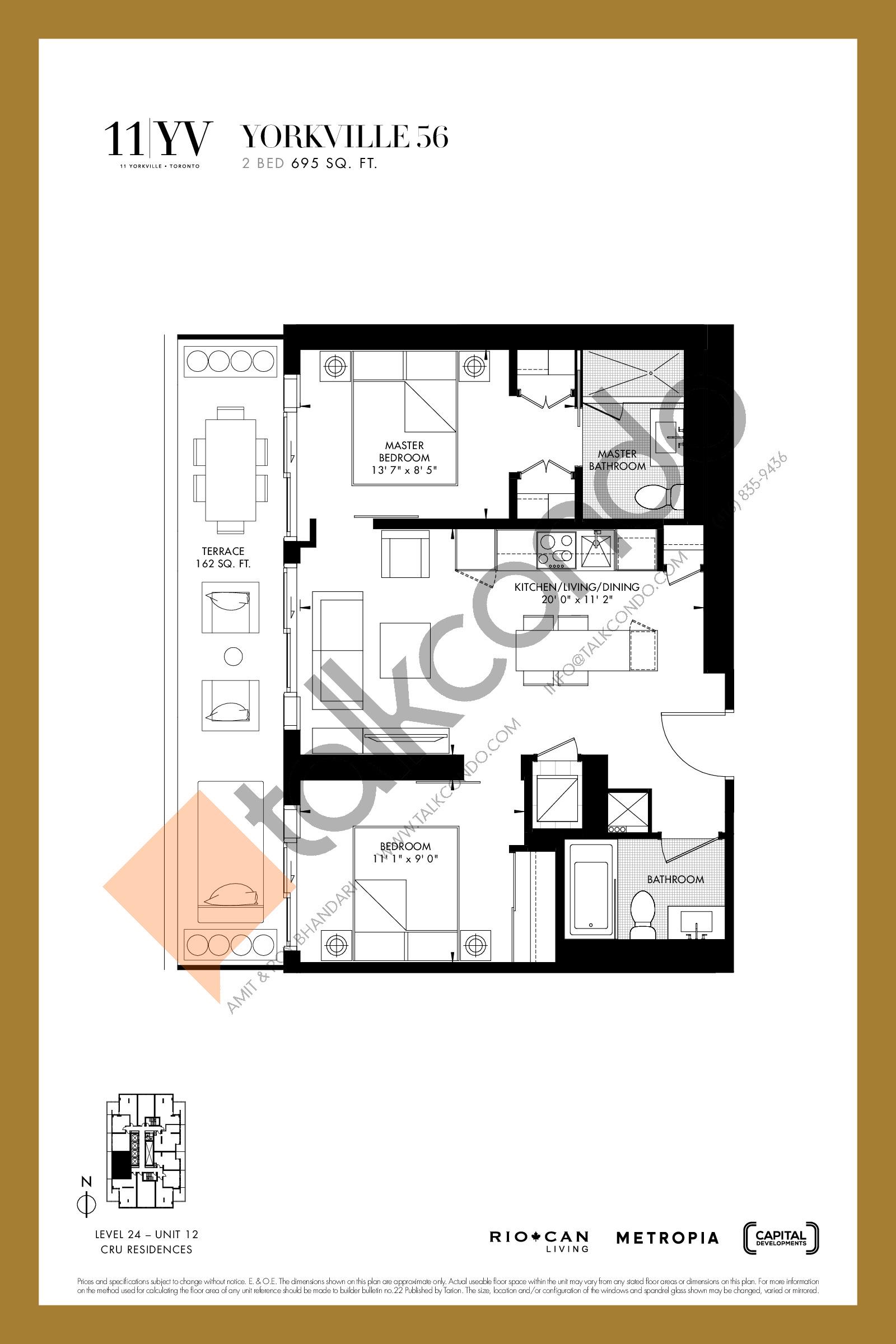 Yorkville 56 Floor Plan at 11YV Condos - 695 sq.ft