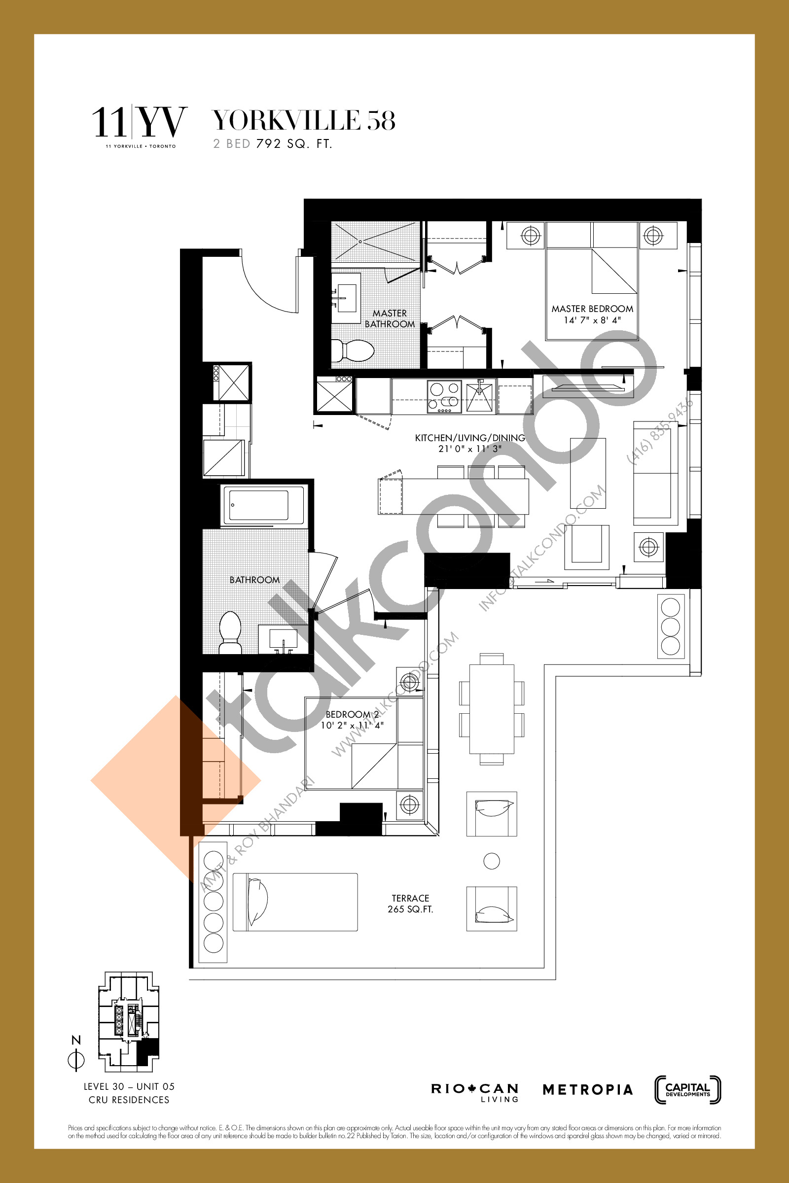 Yorkville 58 Floor Plan at 11YV Condos - 792 sq.ft