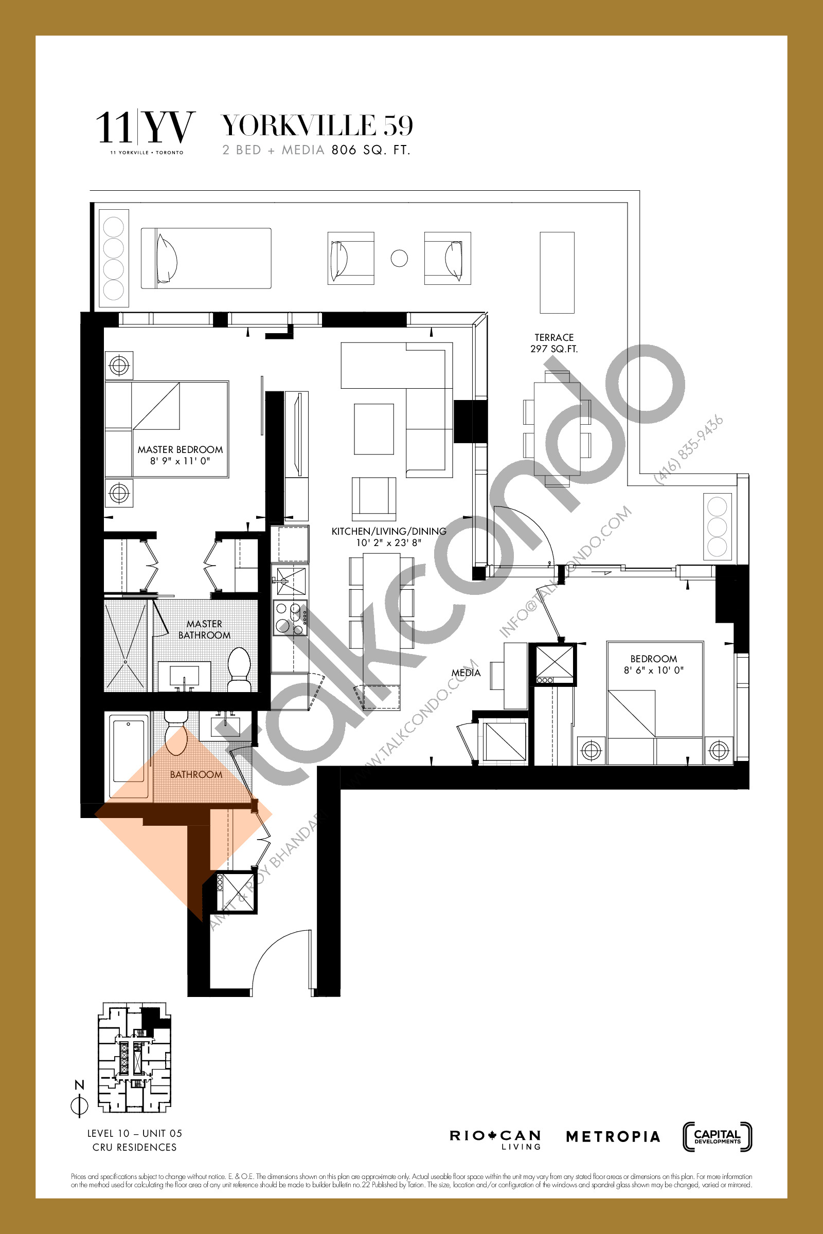 Yorkville 59 Floor Plan at 11YV Condos - 806 sq.ft