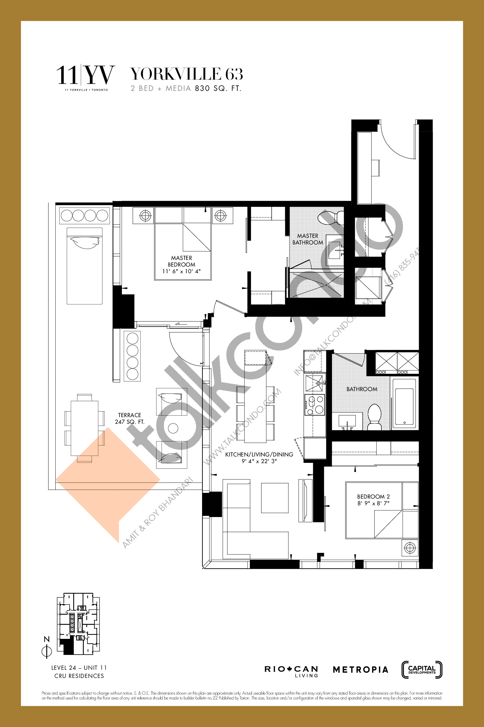 Yorkville 63 Floor Plan at 11YV Condos - 830 sq.ft