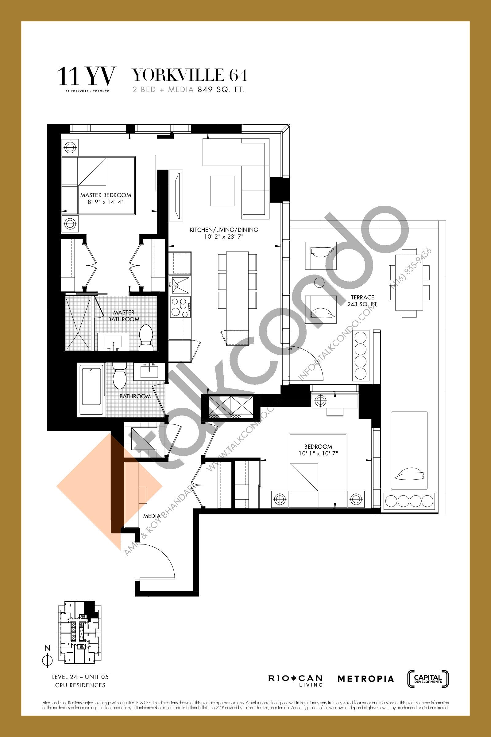 Yorkville 64 Floor Plan at 11YV Condos - 849 sq.ft