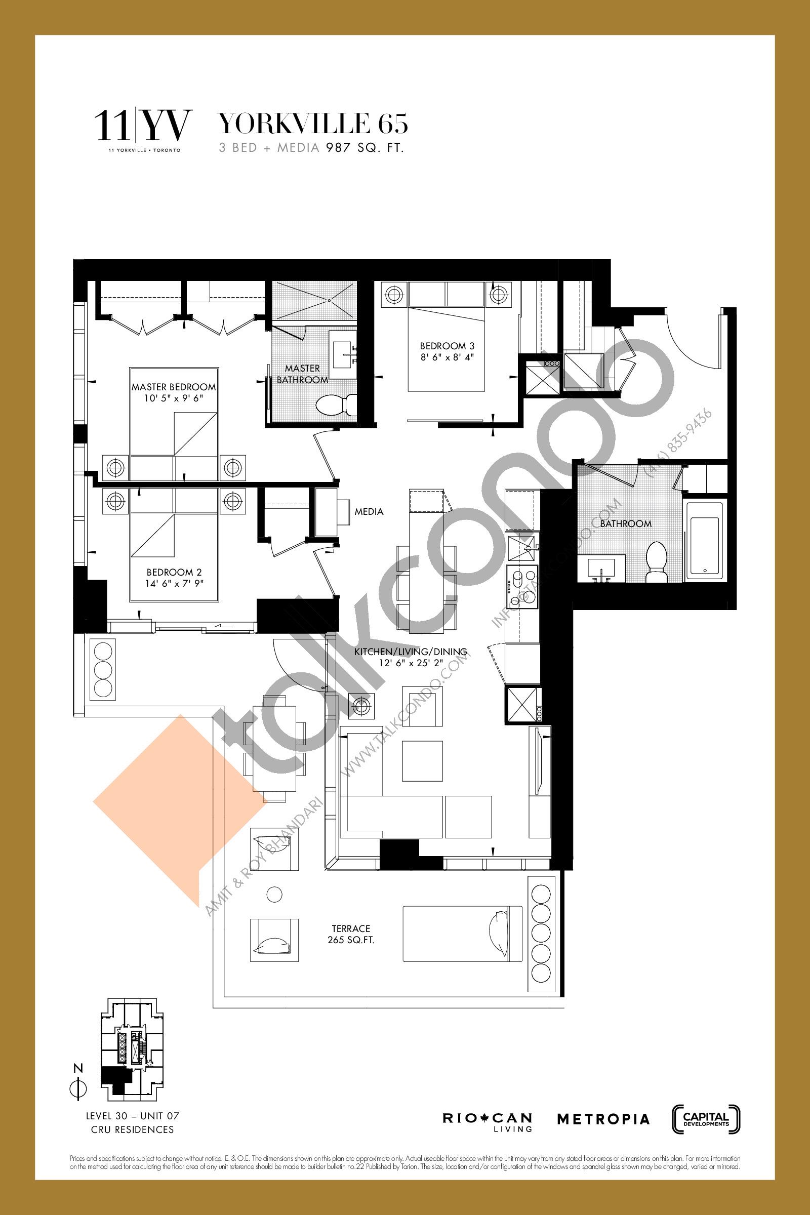 Yorkville 65 Floor Plan at 11YV Condos - 987 sq.ft