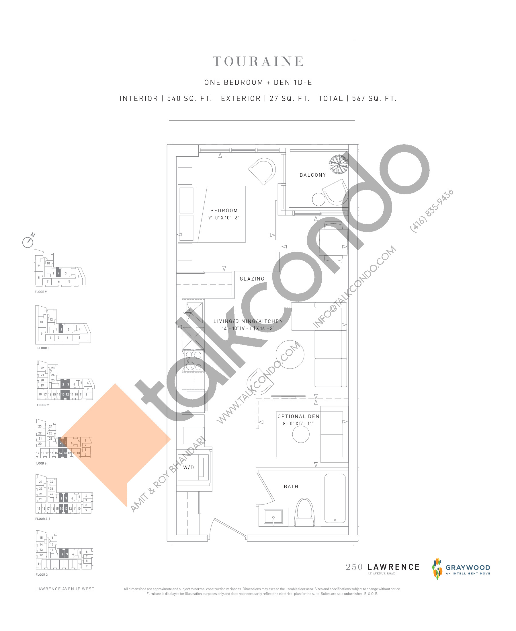 Touraine Floor Plan at 250 Lawrence Avenue West Condos - 540 sq.ft