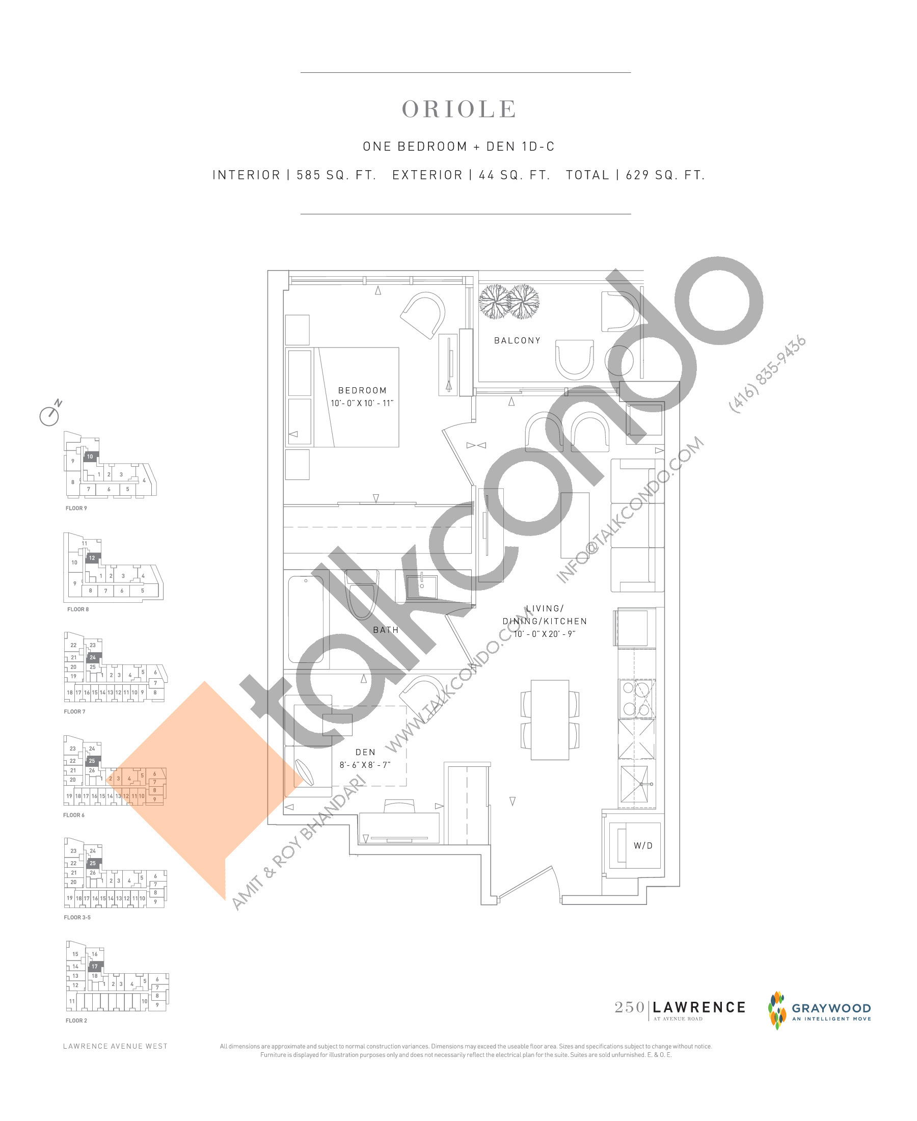 Oriole Floor Plan at 250 Lawrence Avenue West Condos - 585 sq.ft