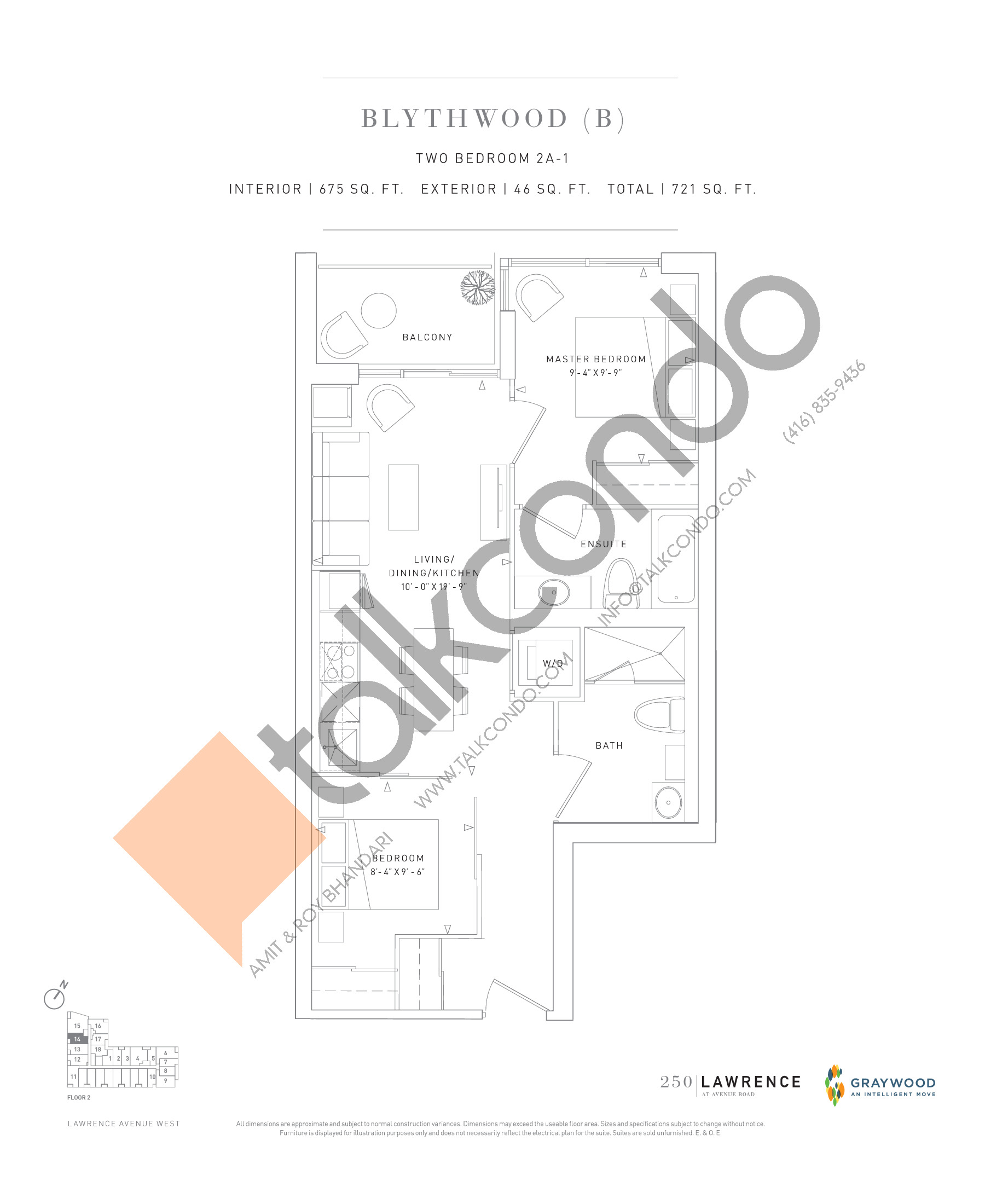 Blythwood (B) Floor Plan at 250 Lawrence Avenue West Condos - 675 sq.ft