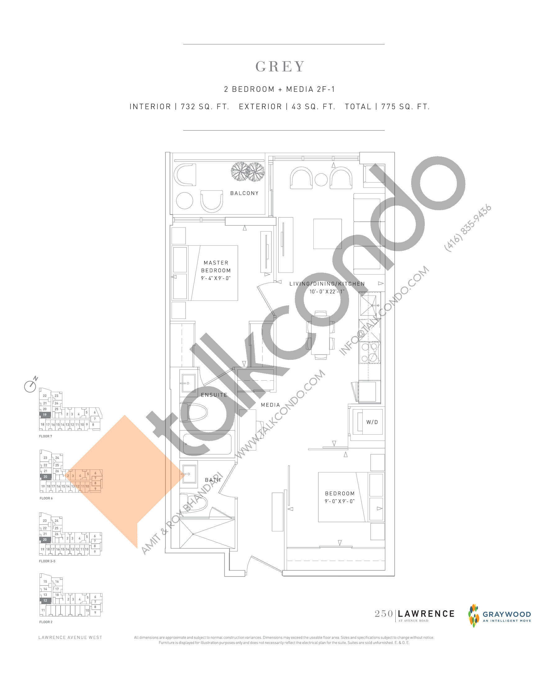 Grey Floor Plan at 250 Lawrence Avenue West Condos - 732 sq.ft