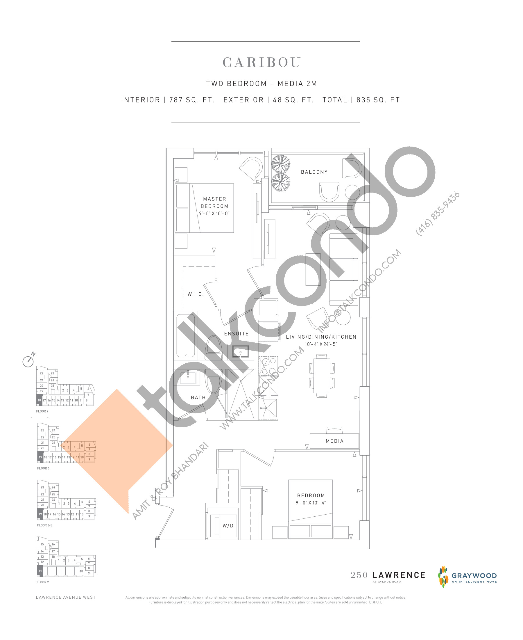 Caribou Floor Plan at 250 Lawrence Avenue West Condos - 787 sq.ft
