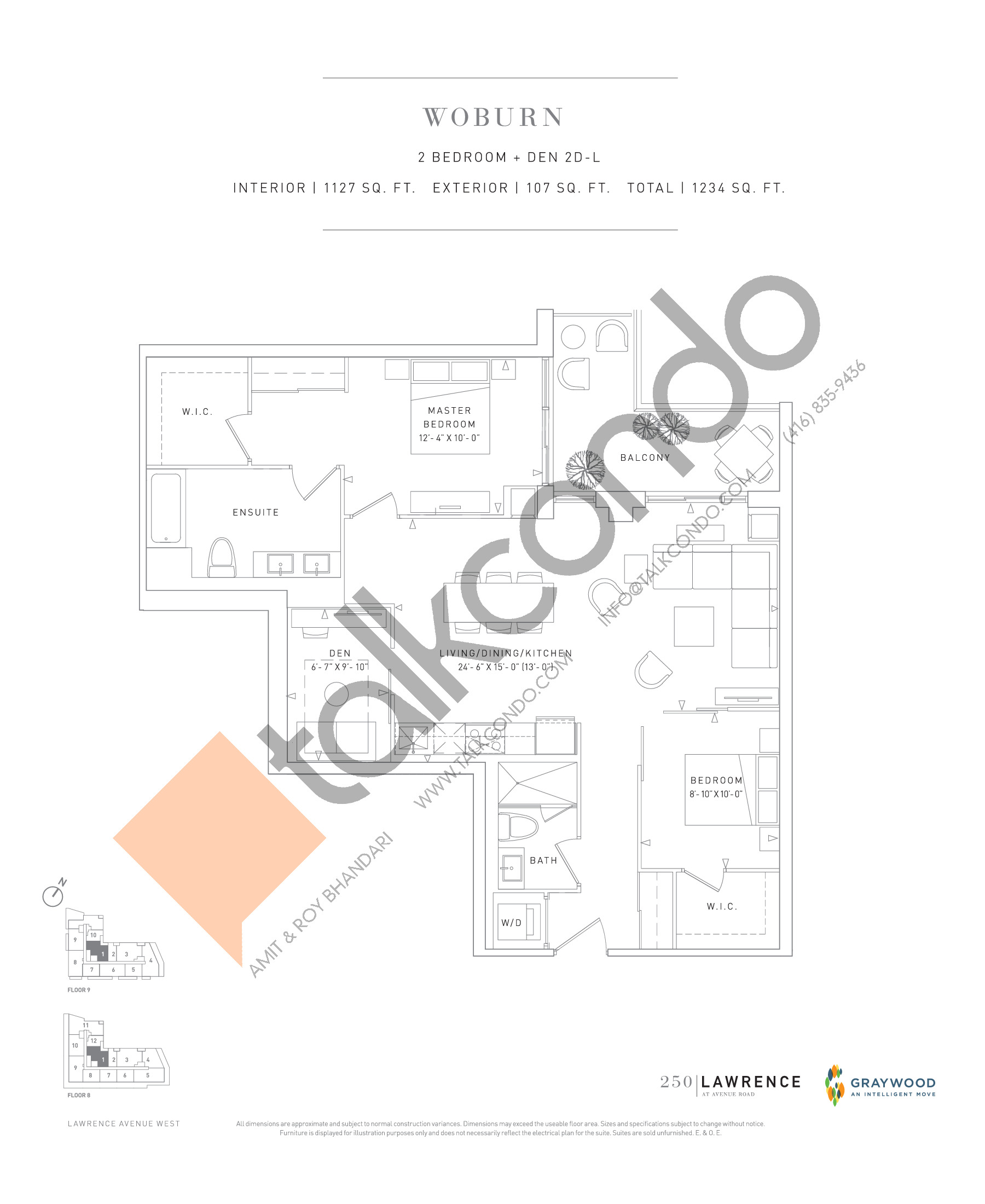Woburn Floor Plan at 250 Lawrence Avenue West Condos - 1127 sq.ft