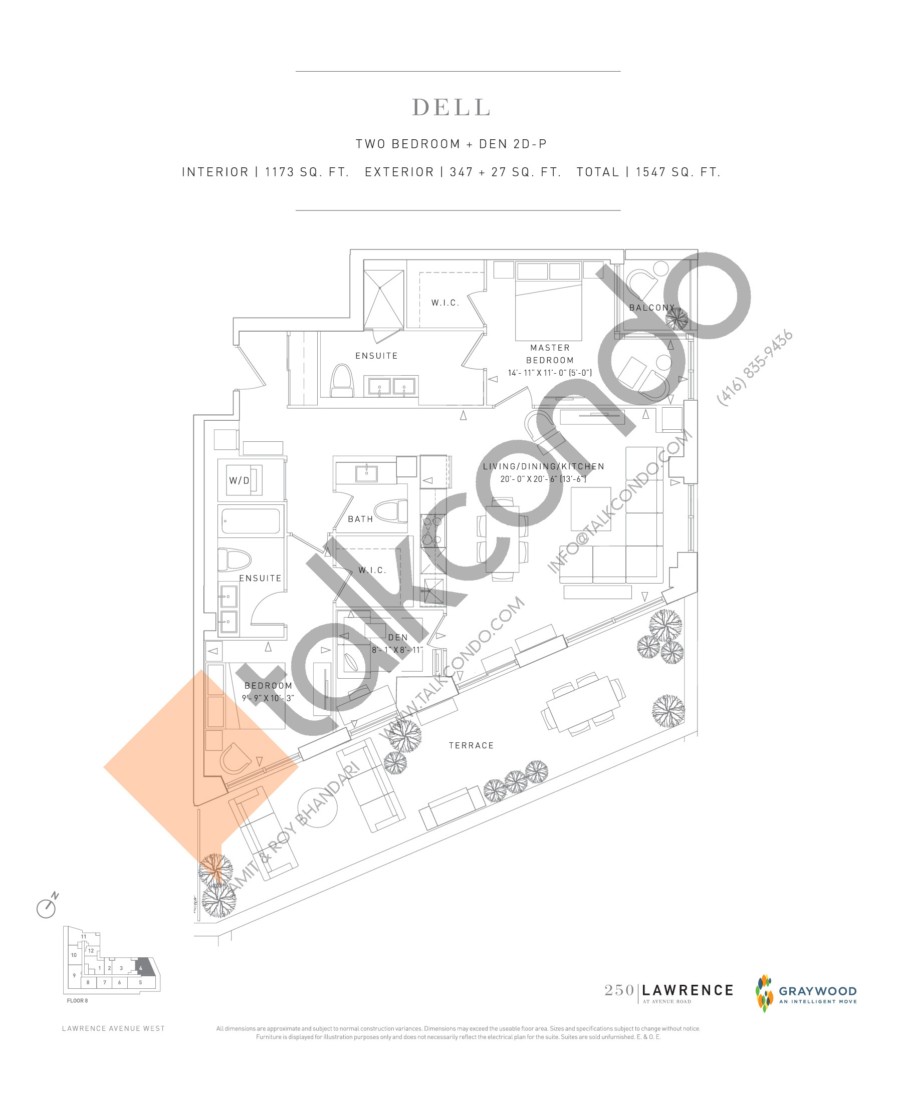 Dell Floor Plan at 250 Lawrence Avenue West Condos - 1173 sq.ft