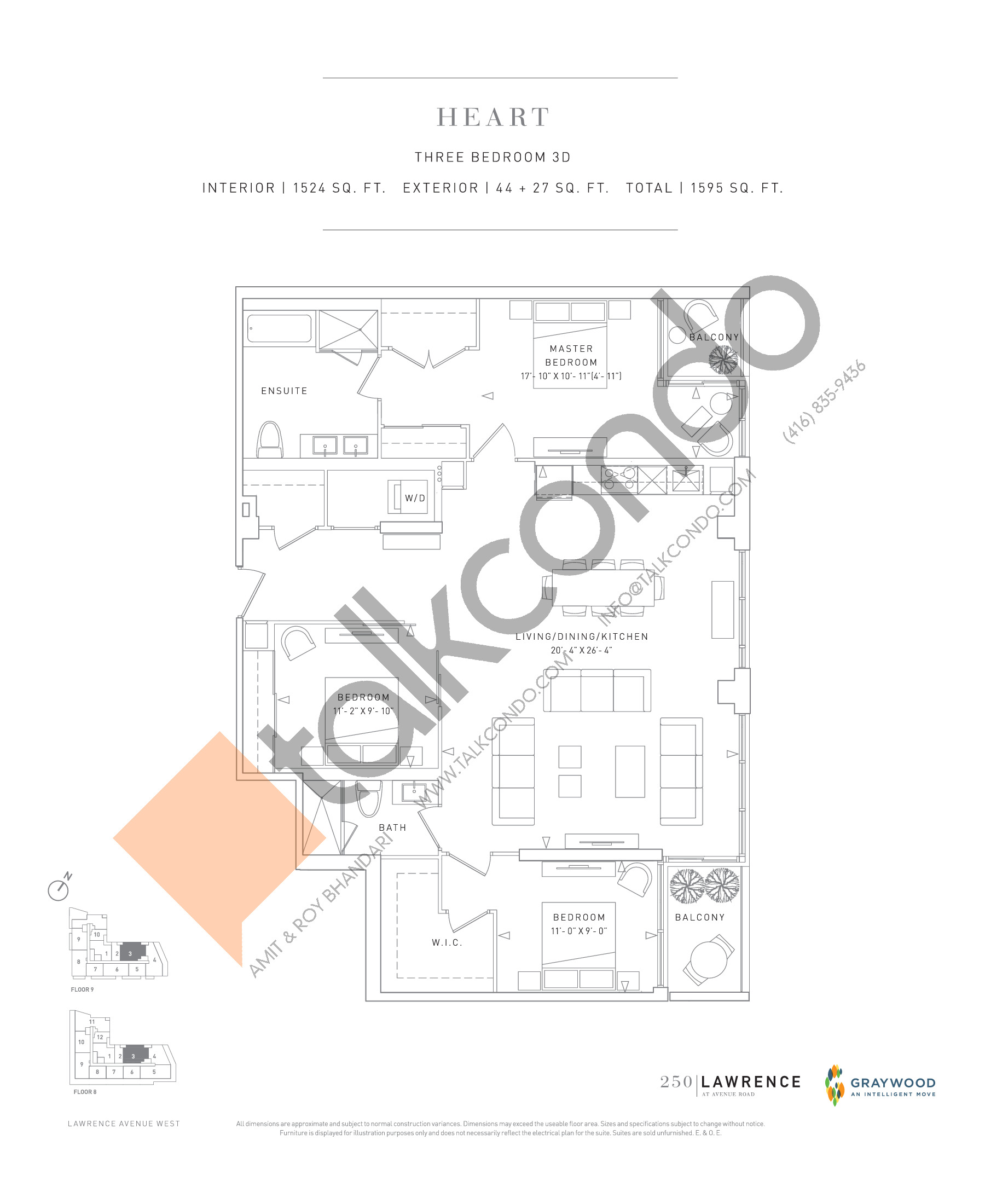 Heart Floor Plan at 250 Lawrence Avenue West Condos - 1524 sq.ft