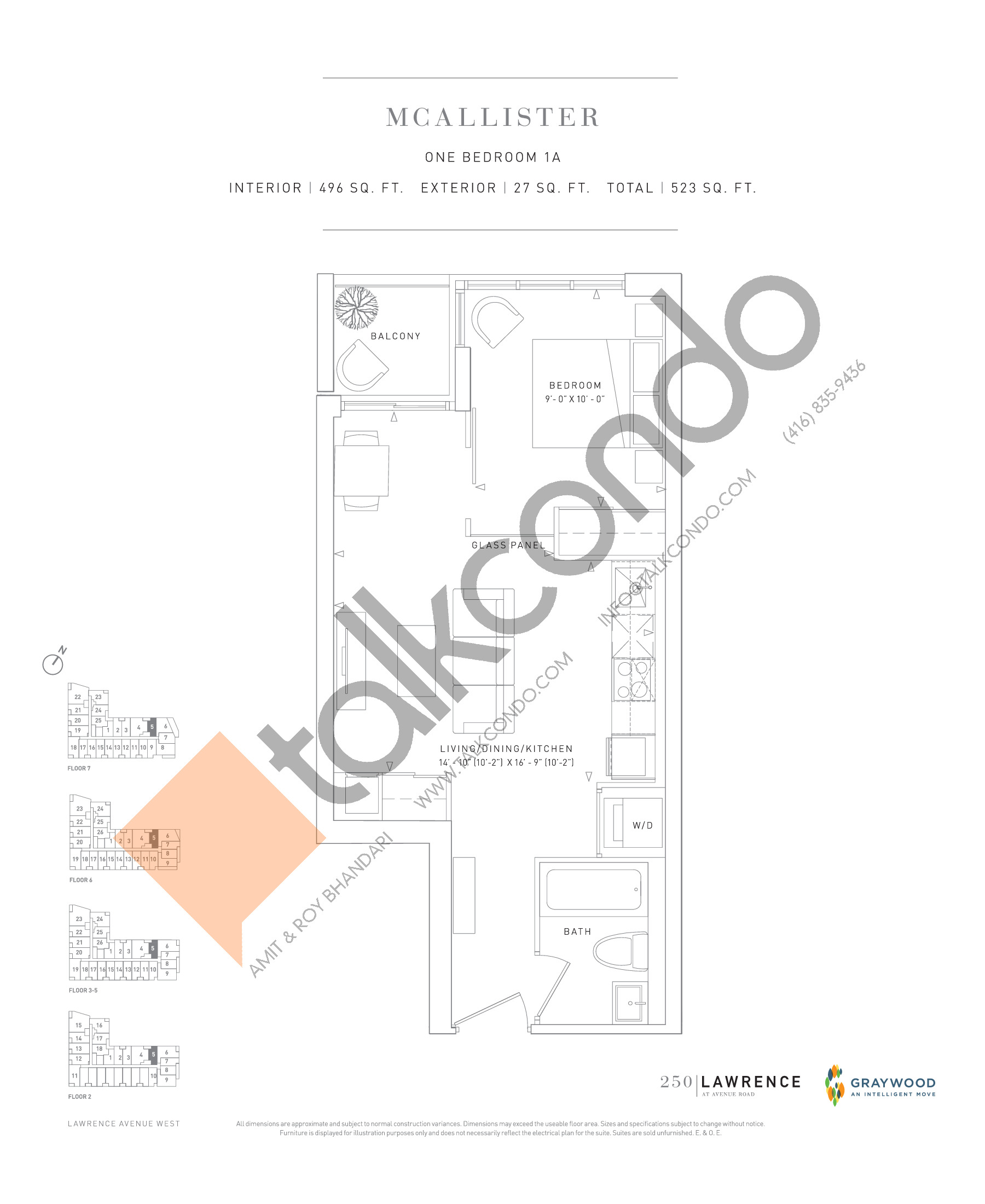 McAllister Floor Plan at 250 Lawrence Avenue West Condos - 496 sq.ft