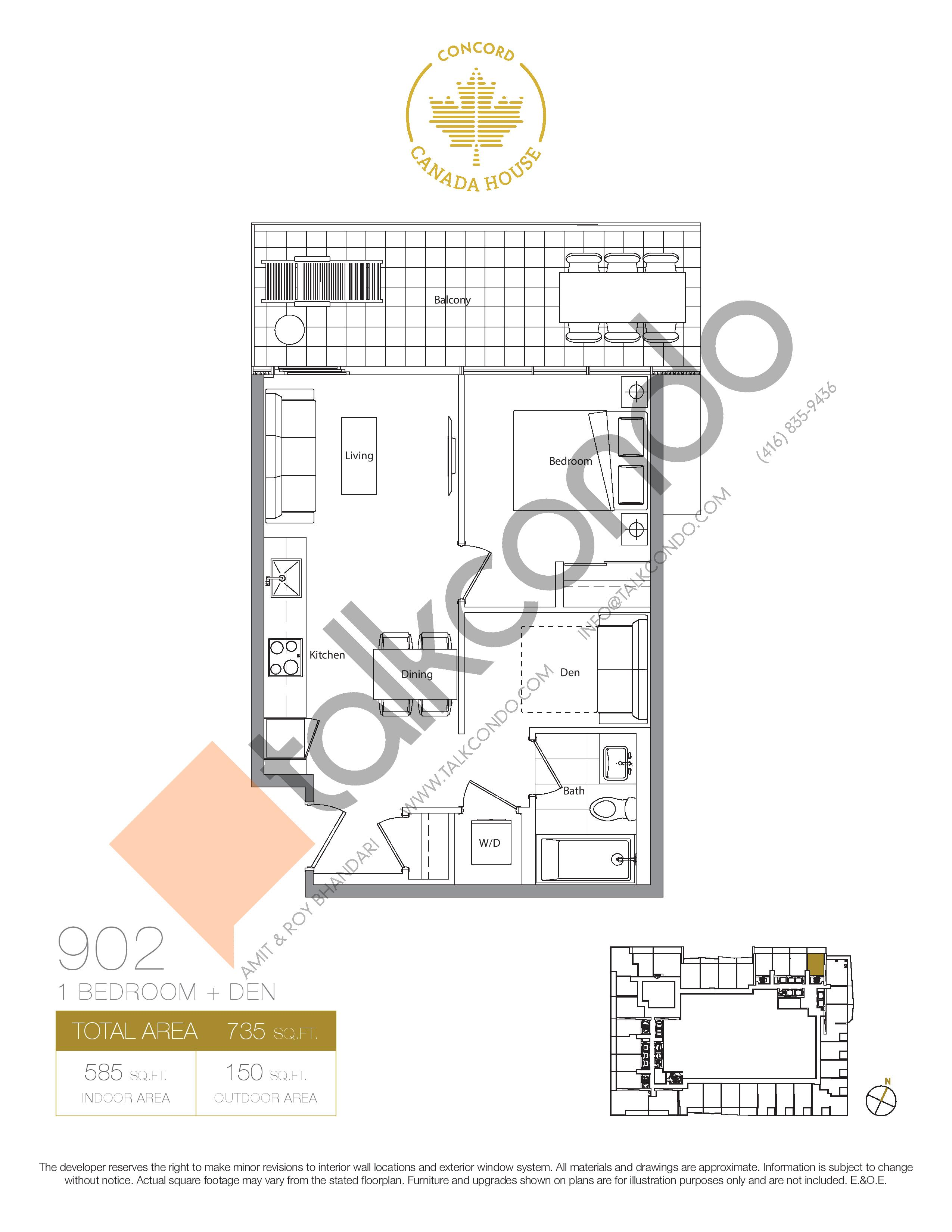 902 (Podium) Floor Plan at Concord Canada House Condos - 585 sq.ft