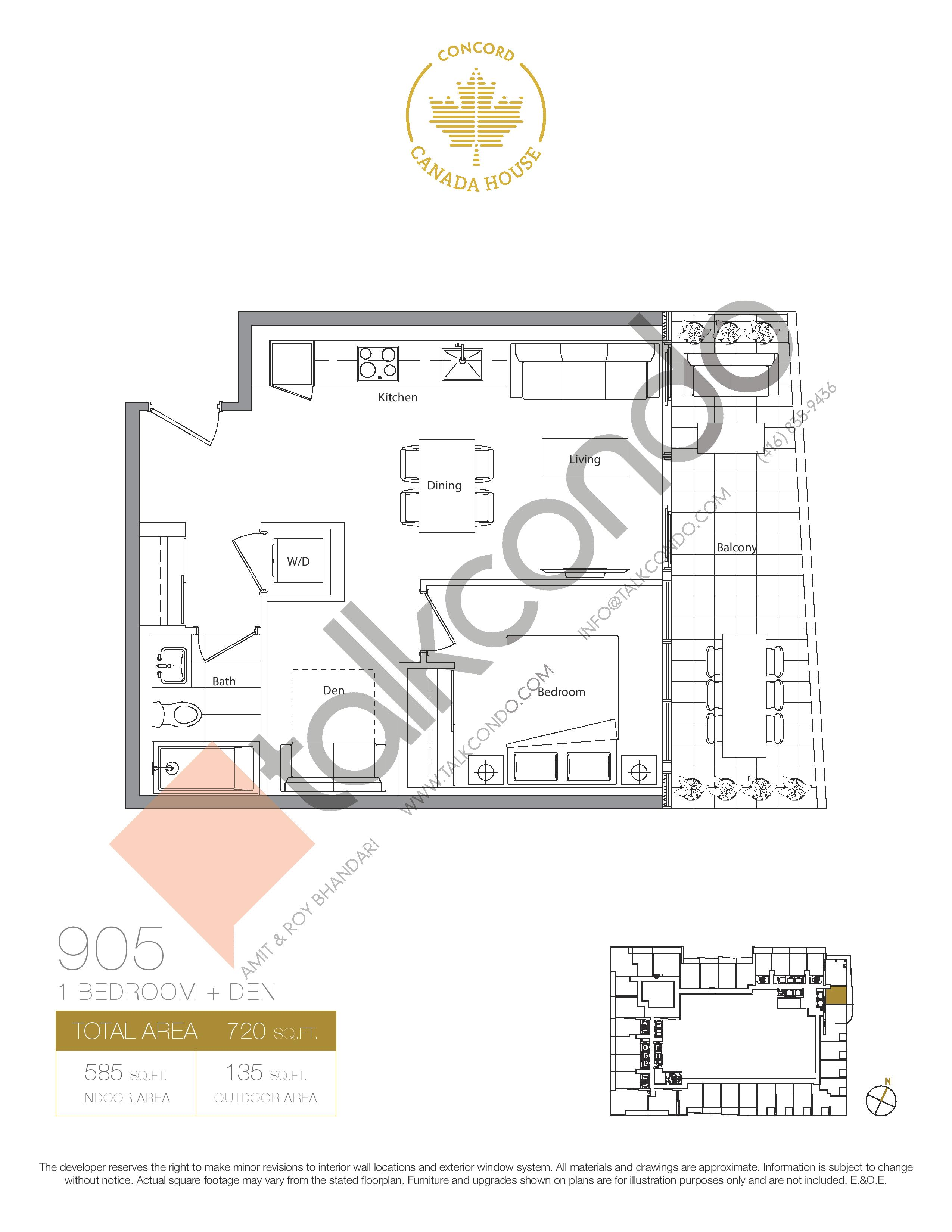 905 (Podium) Floor Plan at Concord Canada House Condos - 585 sq.ft