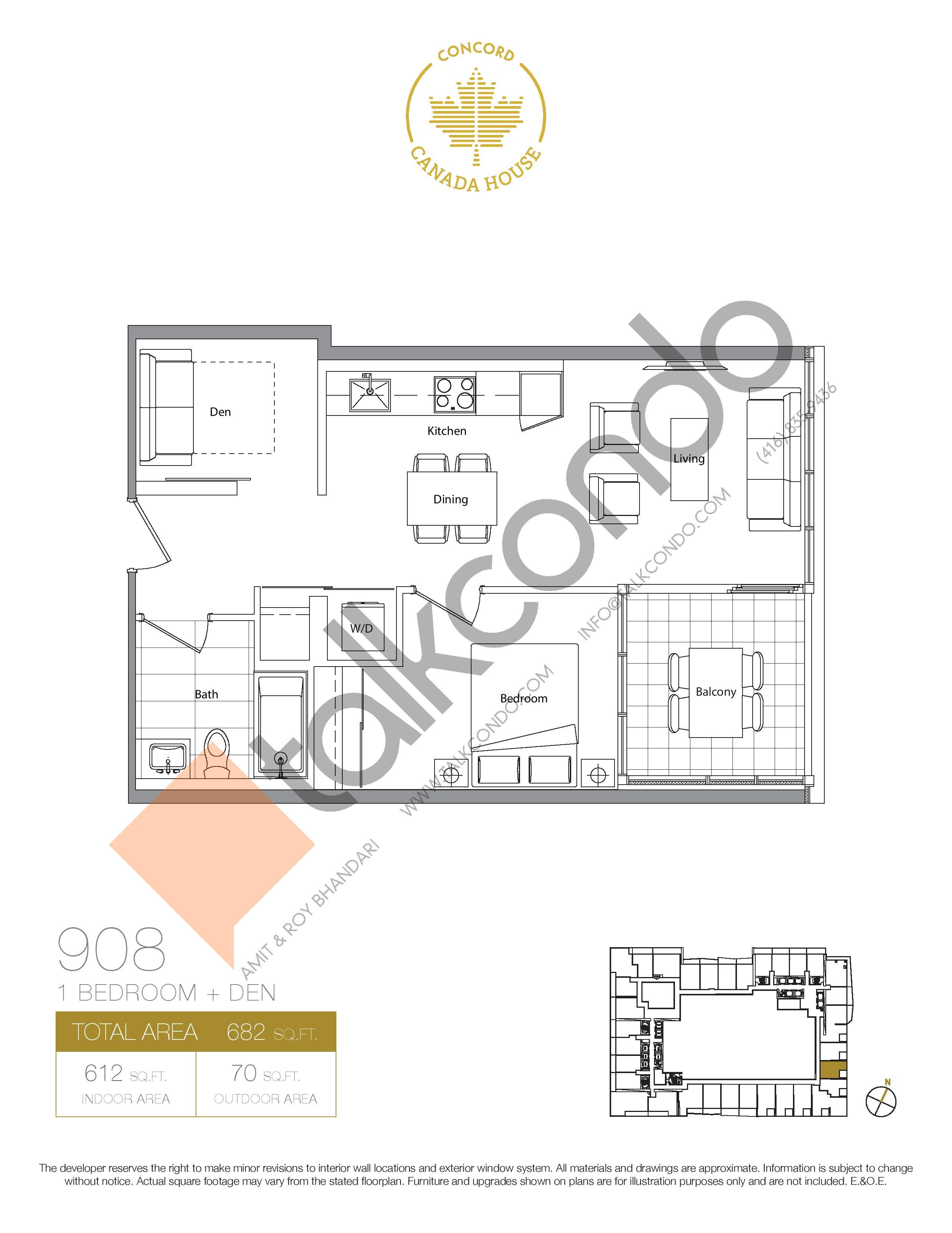 908 (Podium) Floor Plan at Concord Canada House Condos - 612 sq.ft
