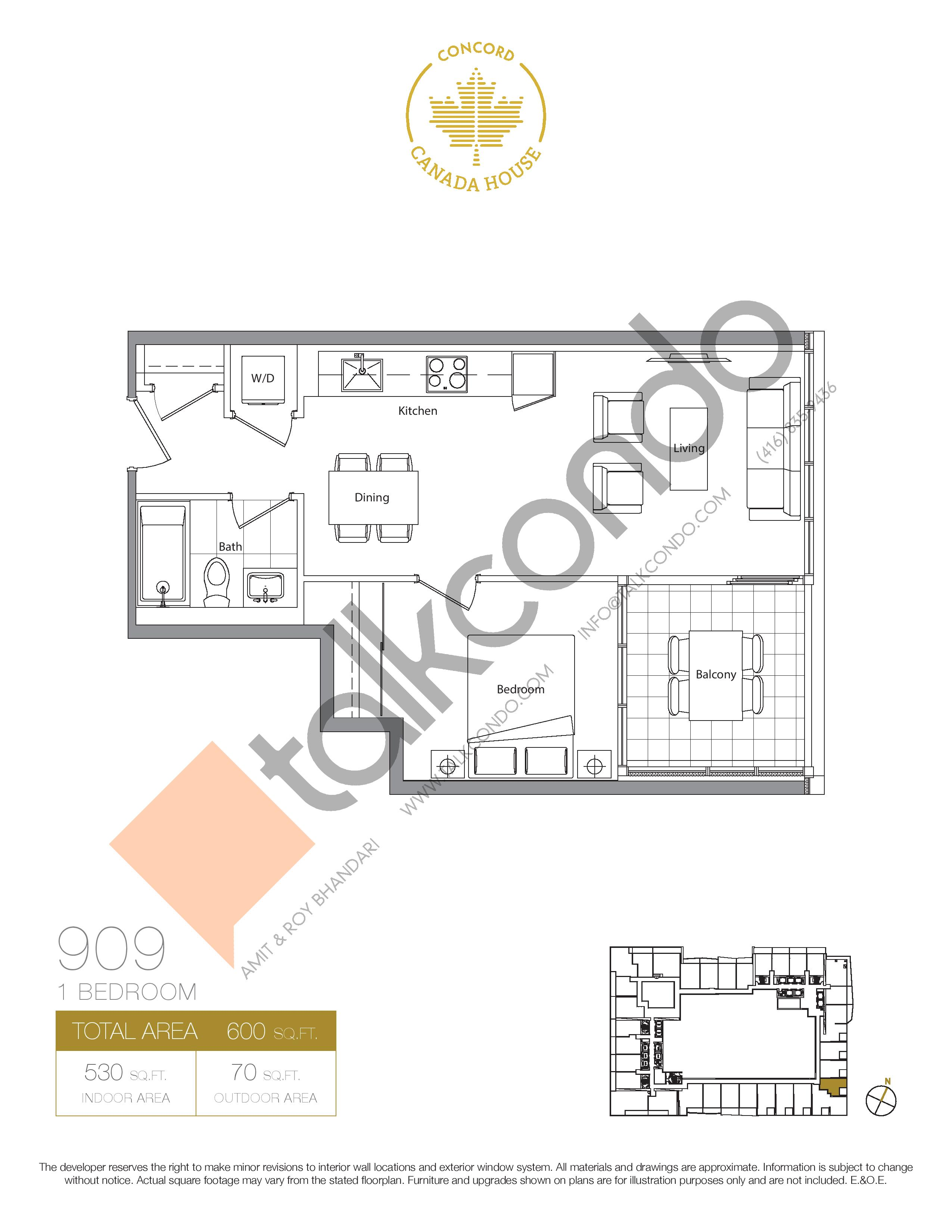 909 (Podium) Floor Plan at Concord Canada House Condos - 530 sq.ft