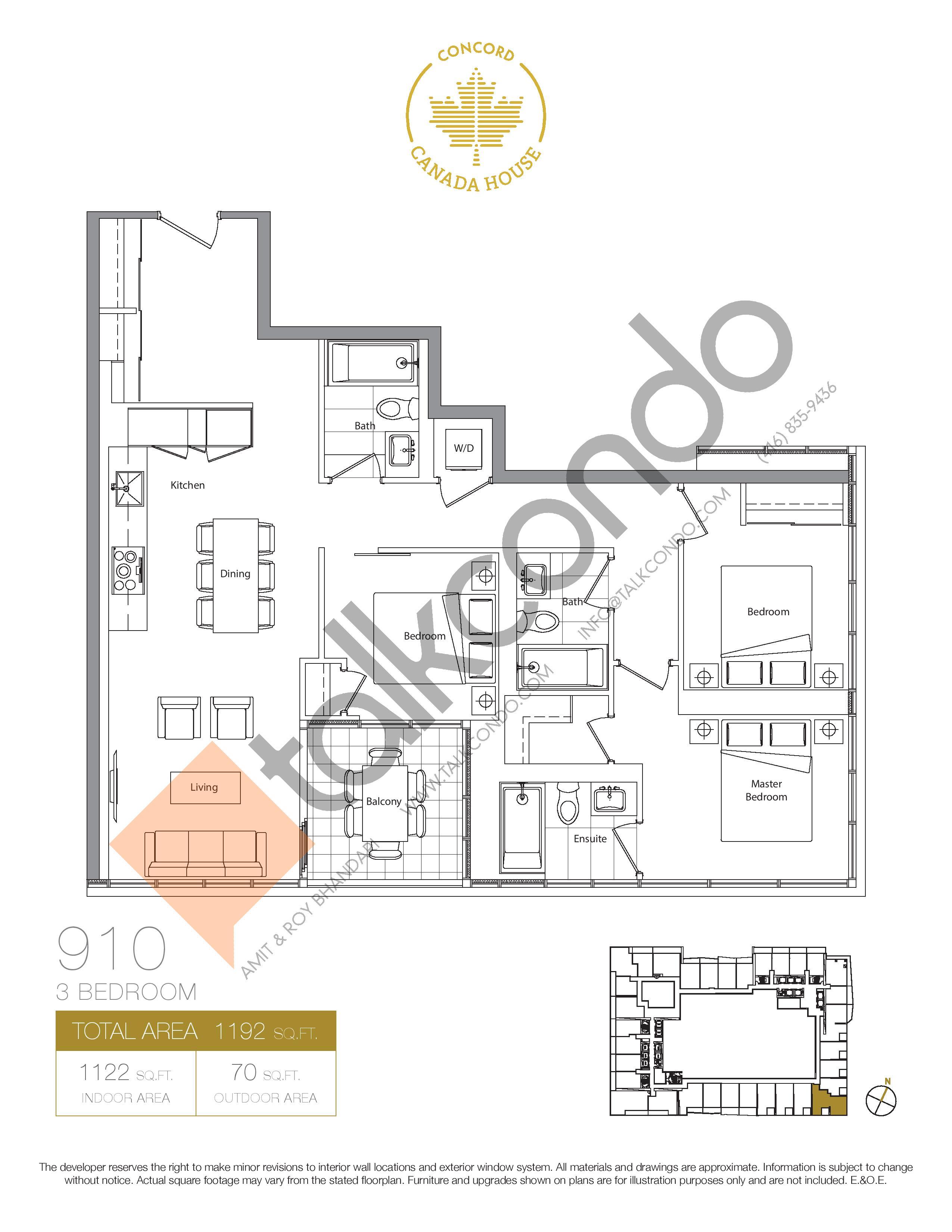 910 (Podium) Floor Plan at Concord Canada House Condos - 1122 sq.ft