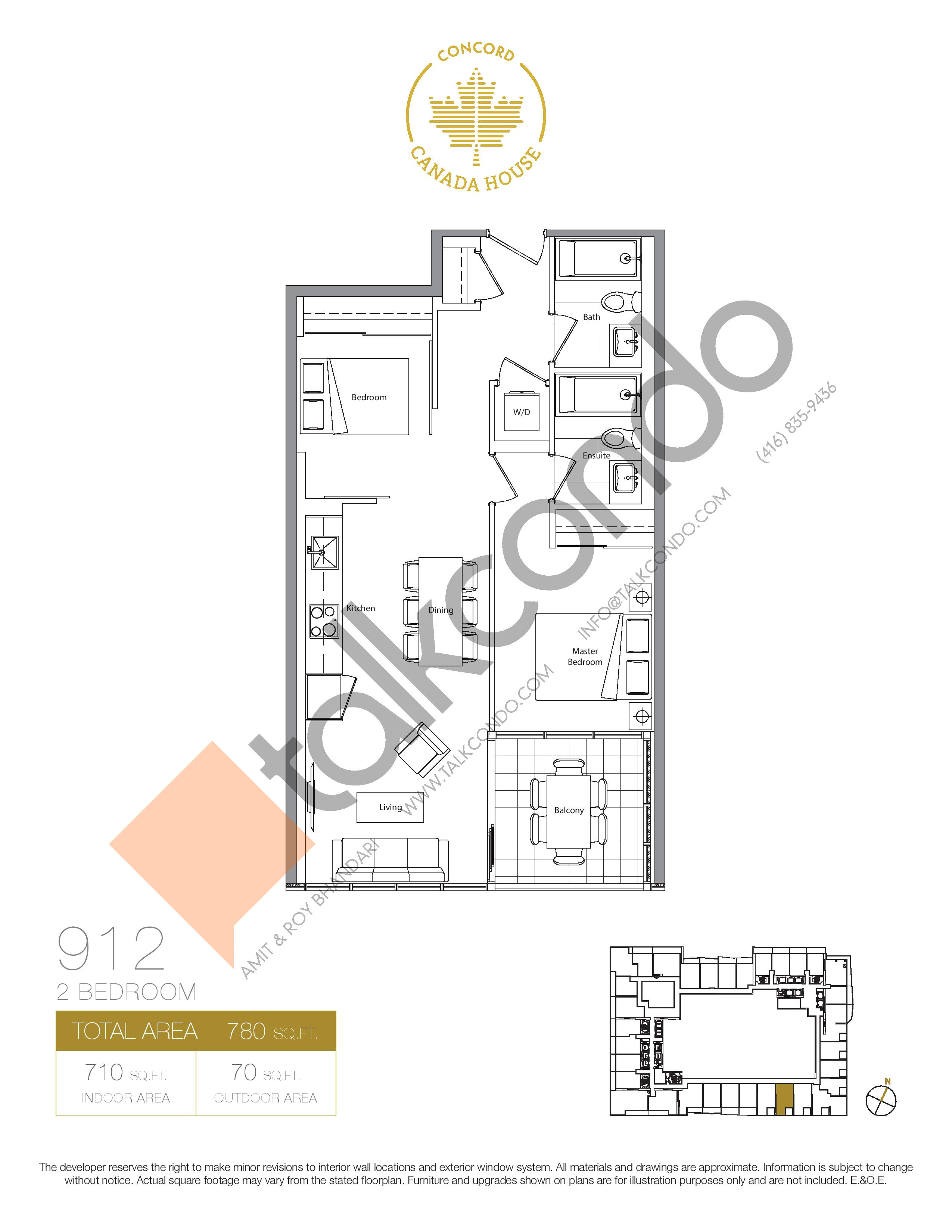 912 (Podium) Floor Plan at Concord Canada House Condos - 710 sq.ft