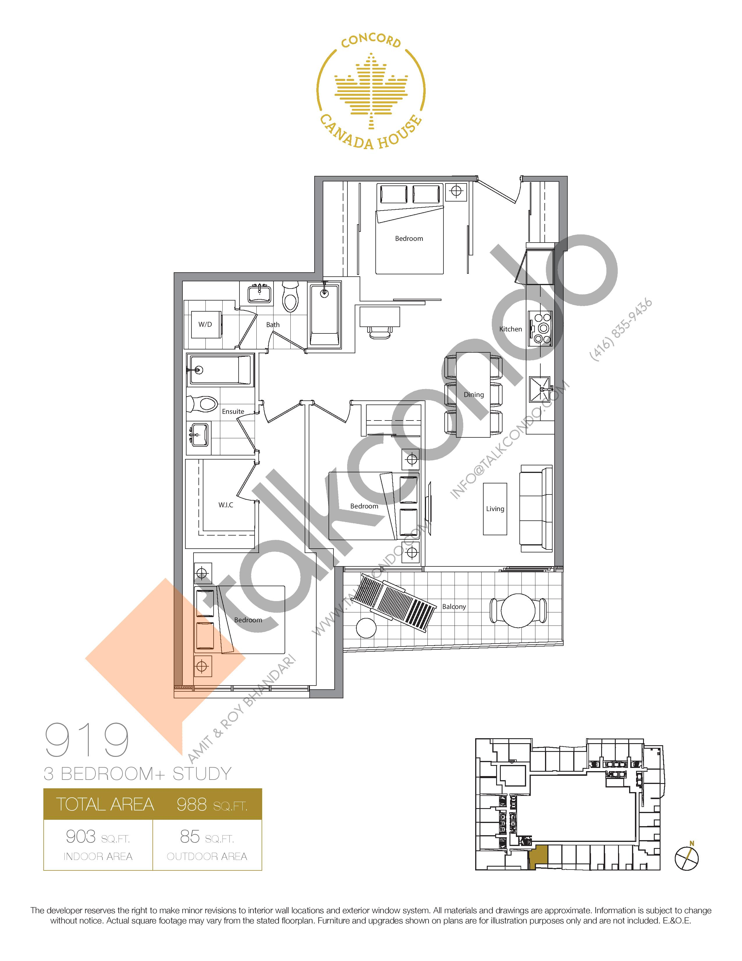 919 (Podium) Floor Plan at Concord Canada House Condos - 903 sq.ft