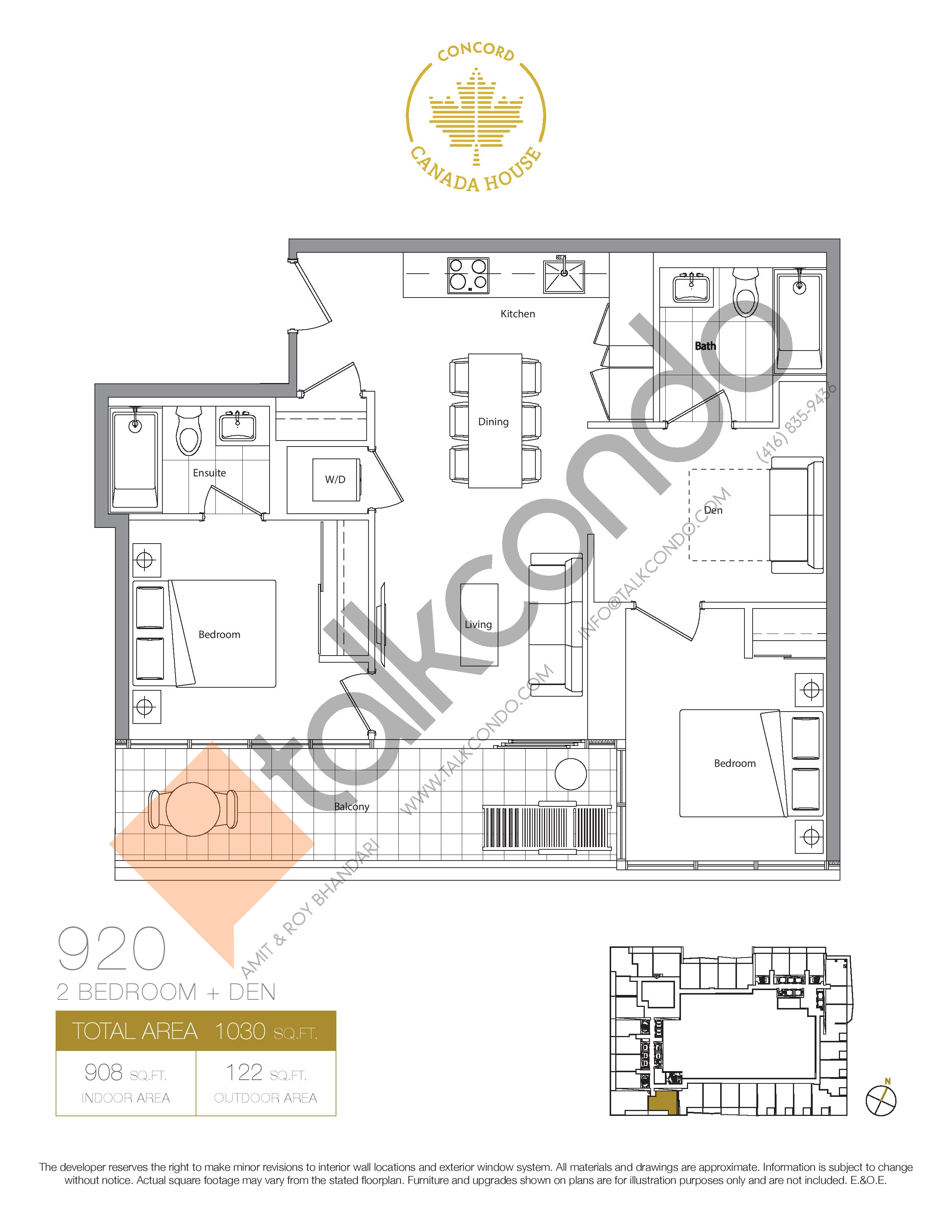920 (Podium) Floor Plan at Concord Canada House Condos - 908 sq.ft
