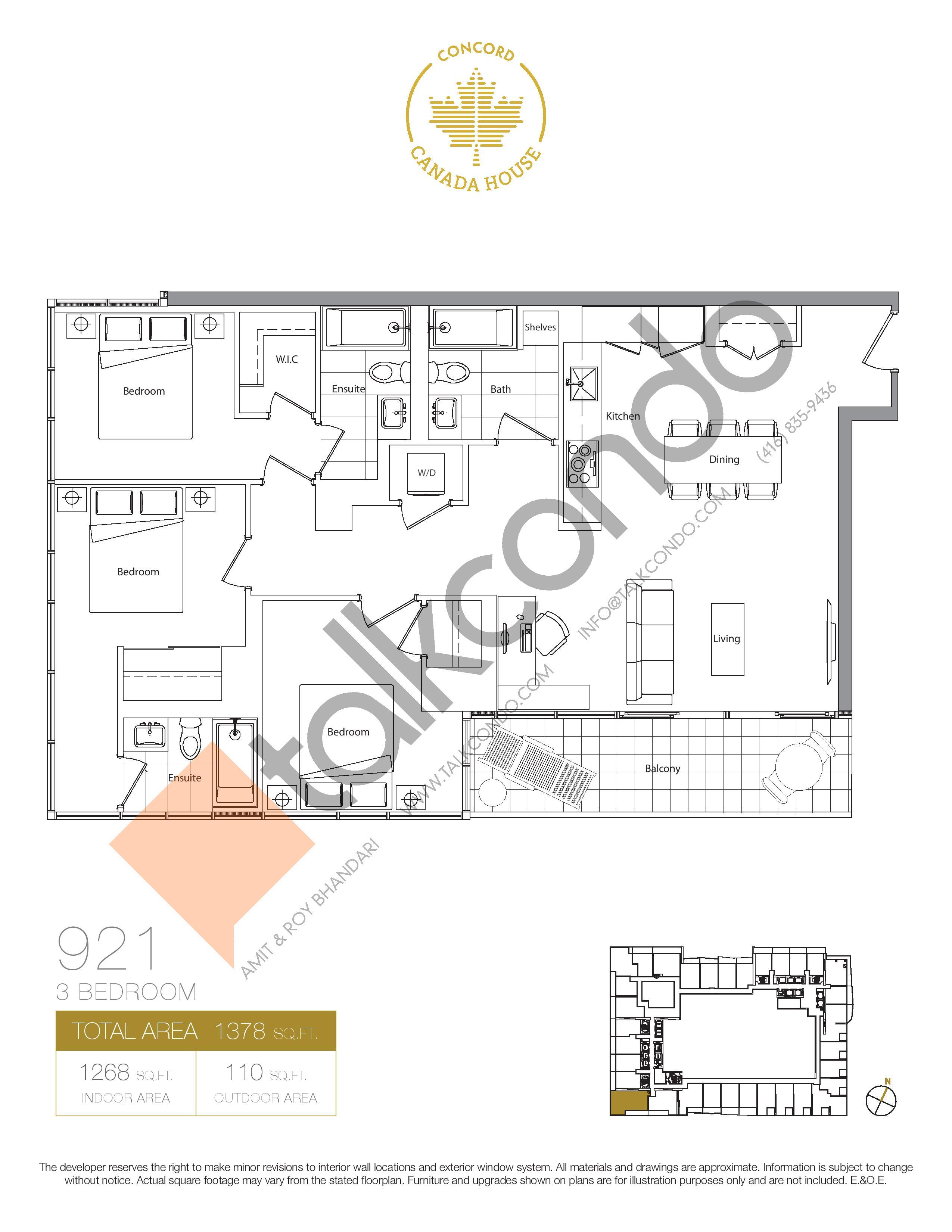 921 (Podium) Floor Plan at Concord Canada House Condos - 1268 sq.ft