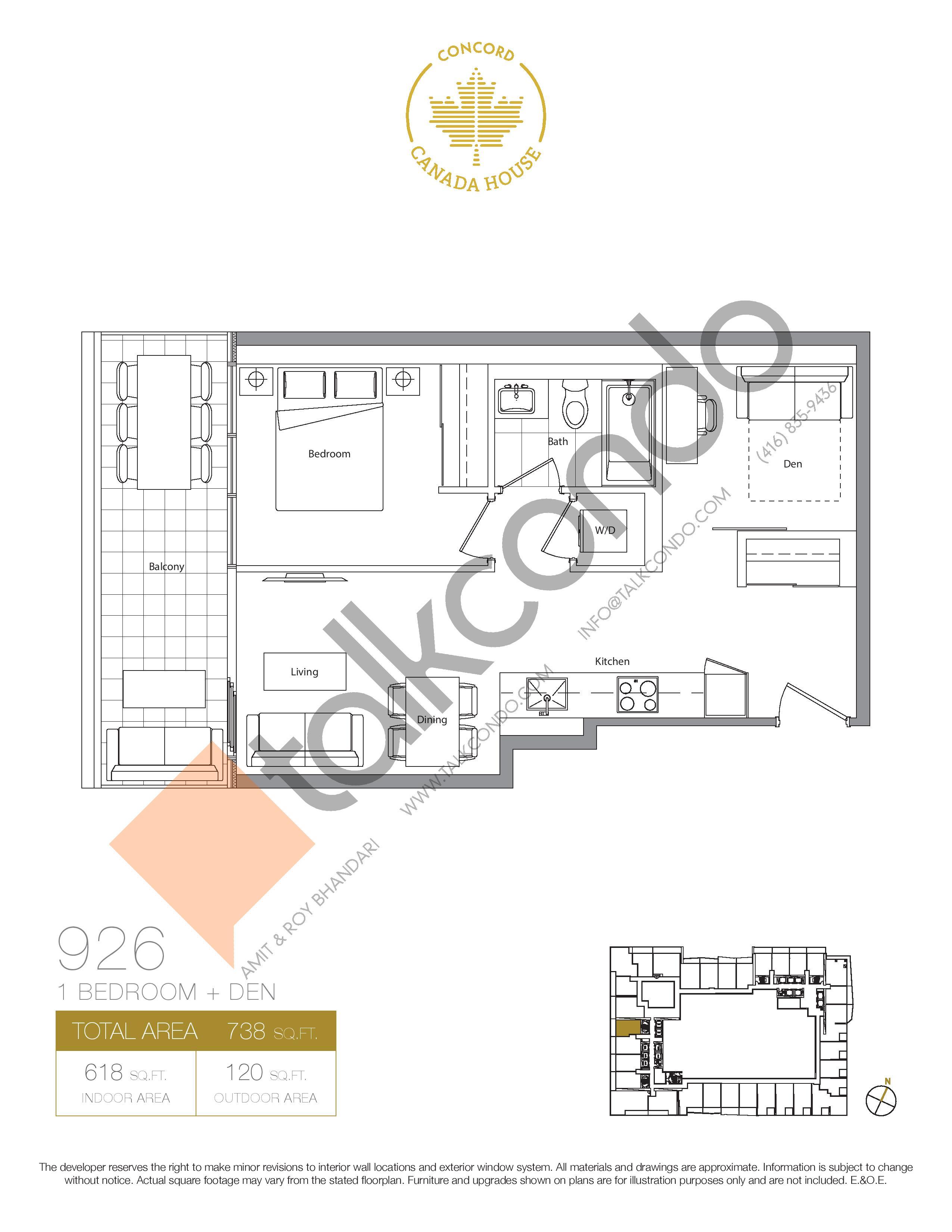 926 (Podium) Floor Plan at Concord Canada House Condos - 618 sq.ft