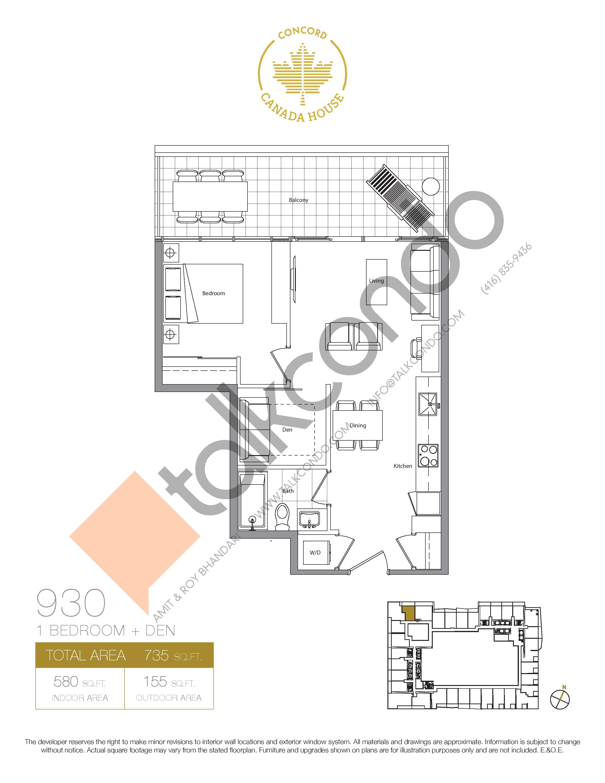 930 (Podium) Floor Plan at Concord Canada House Condos - 580 sq.ft