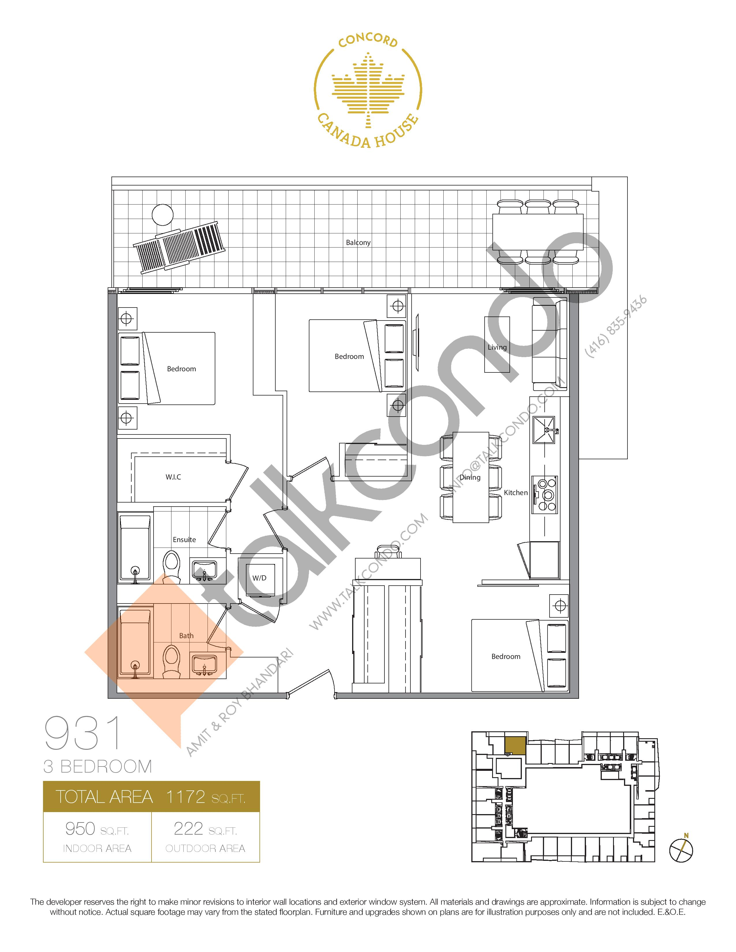 931 (Podium) Floor Plan at Concord Canada House Condos - 950 sq.ft