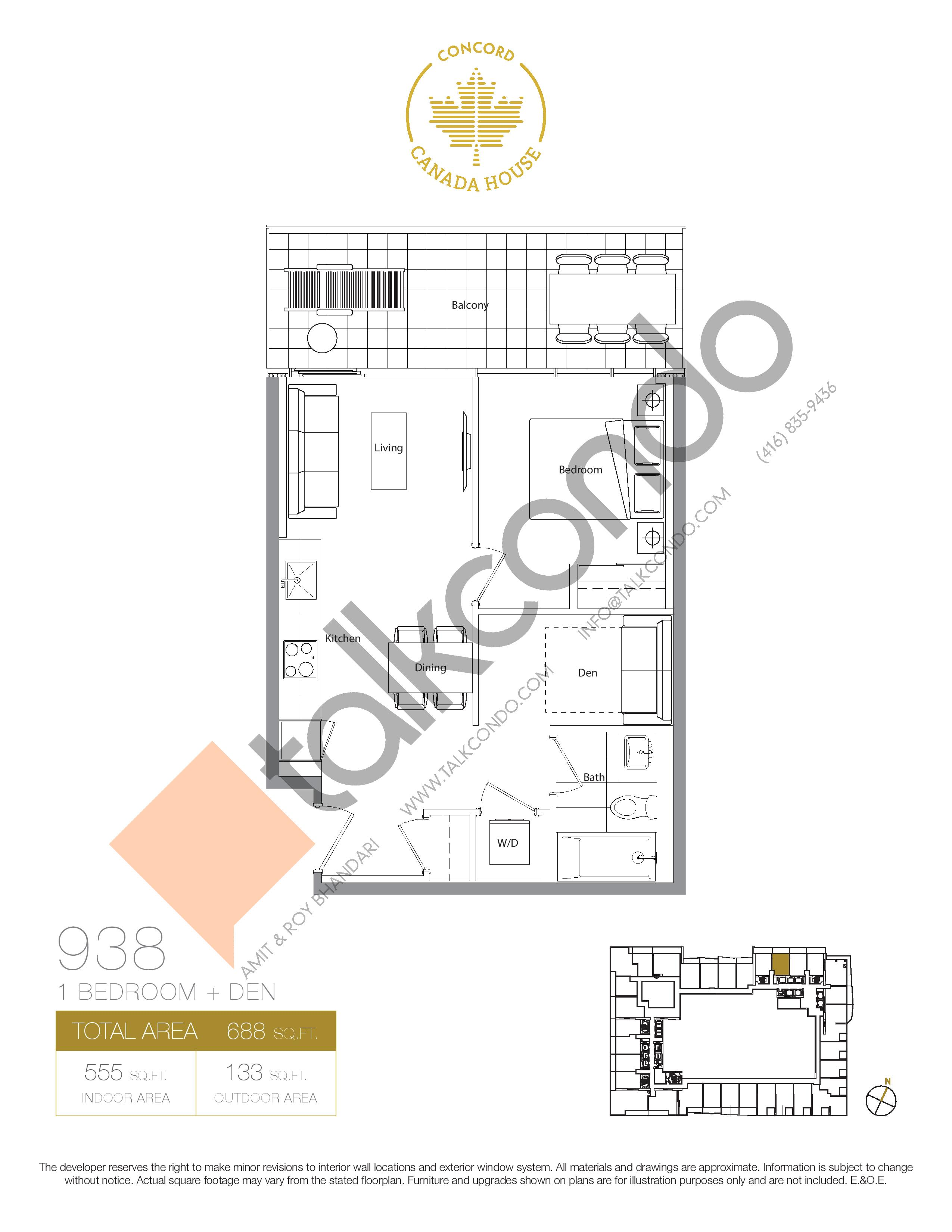 938 (Podium) Floor Plan at Concord Canada House Condos - 555 sq.ft