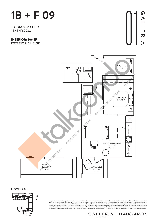 1B + F 09 Floor Plan at Galleria on the Park Condos - 606 sq.ft