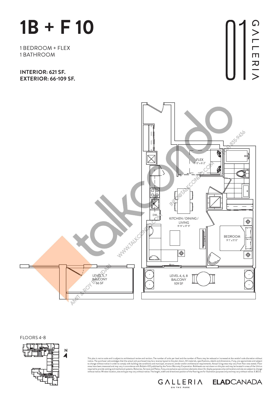 1B + F 10 Floor Plan at Galleria on the Park Condos - 621 sq.ft