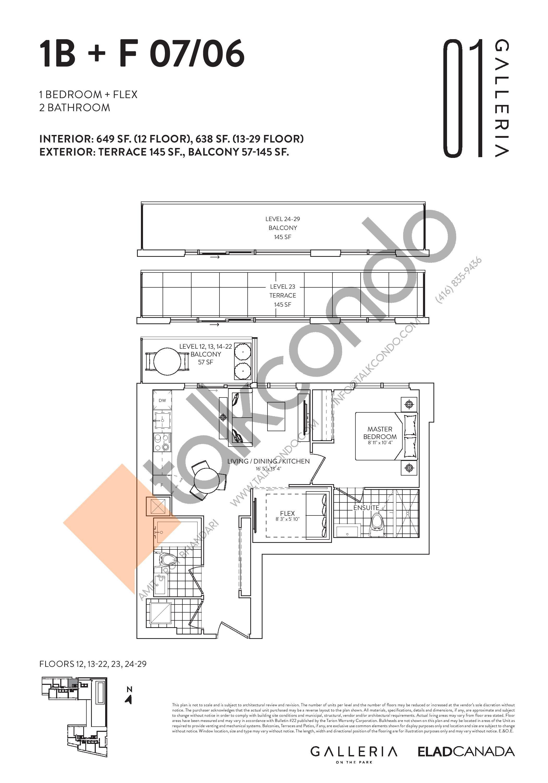 1B + F 07/06 Floor Plan at Galleria on the Park Condos - 649 sq.ft