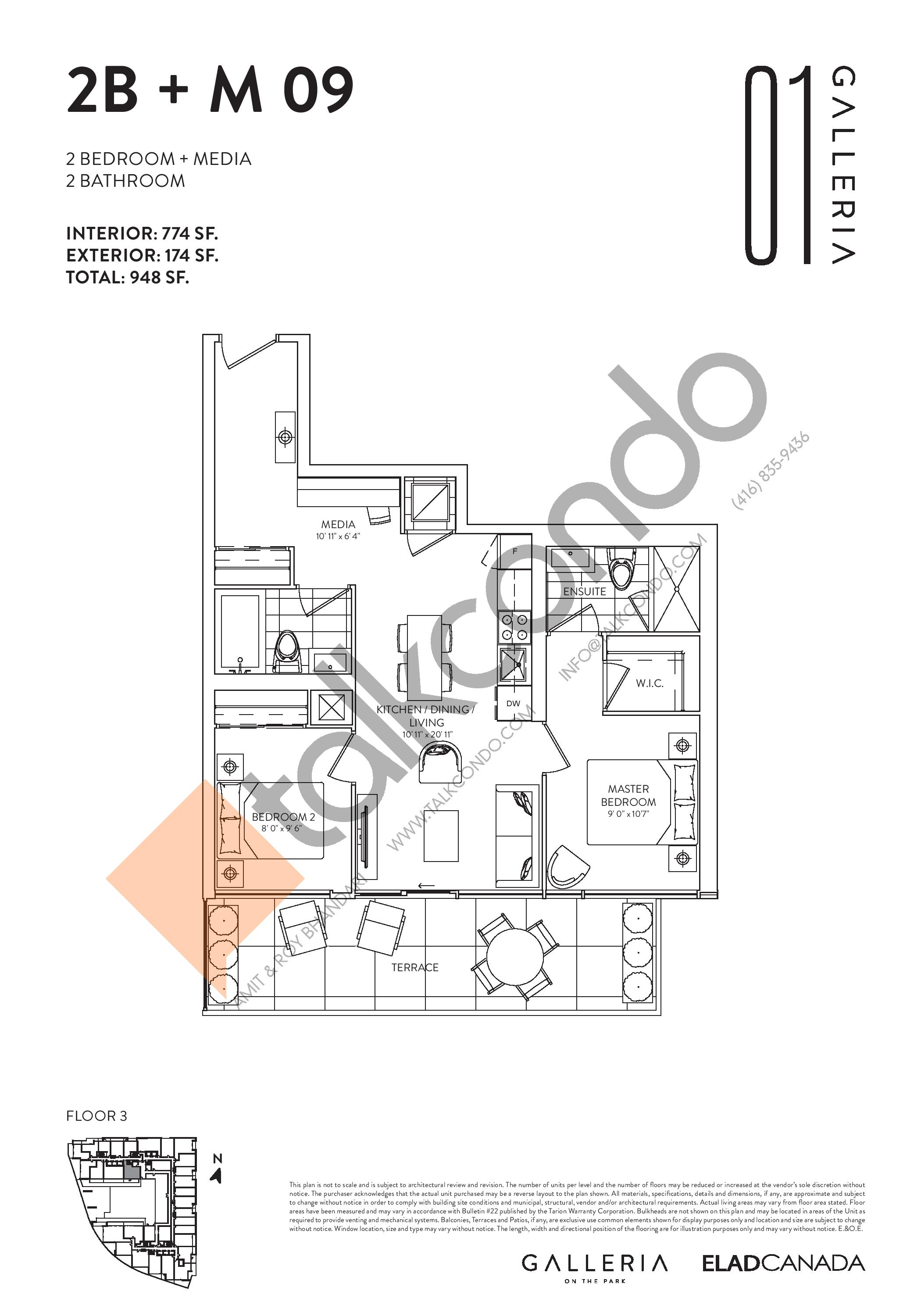 2B + M 09 Floor Plan at Galleria on the Park Condos - 774 sq.ft