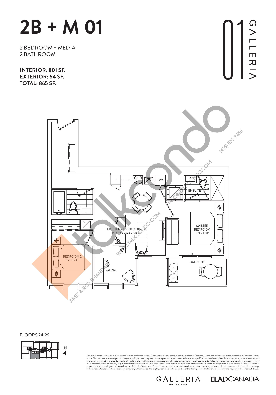 2B + M 01 Floor Plan at Galleria on the Park Condos - 801 sq.ft