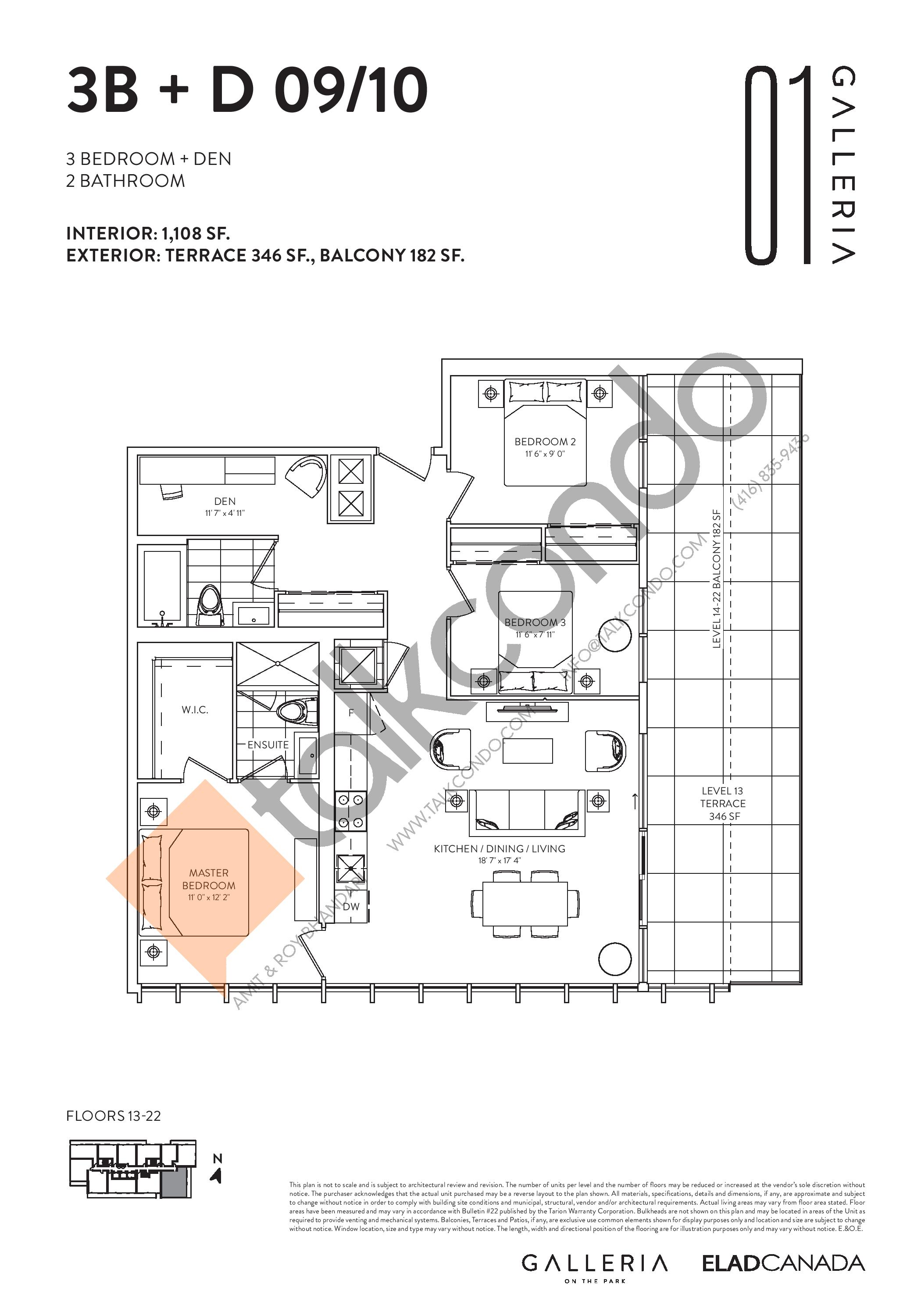 3B + D 09/10 Floor Plan at Galleria on the Park Condos - 1108 sq.ft