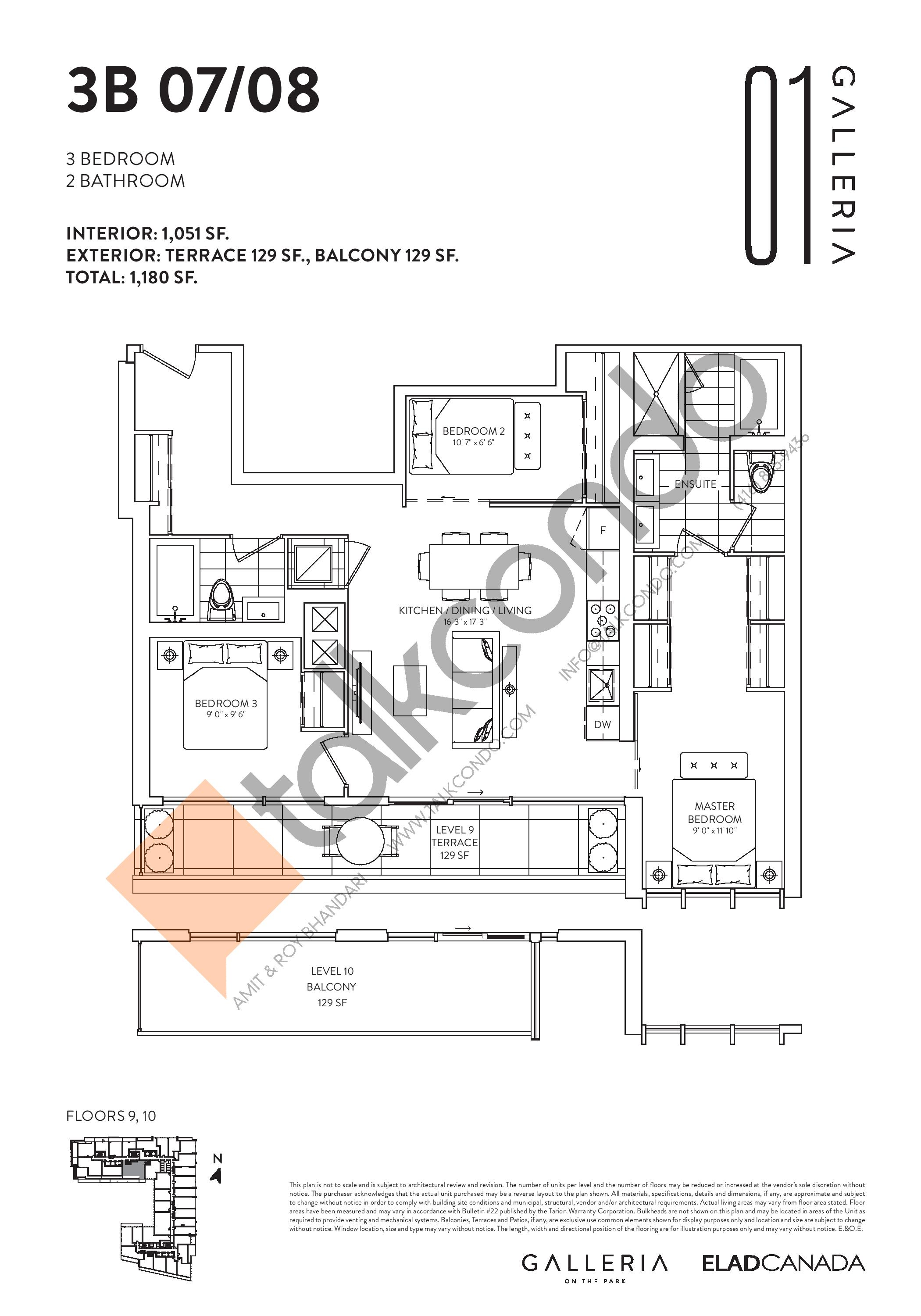 3B 07/08 Floor Plan at Galleria on the Park Condos - 1051 sq.ft