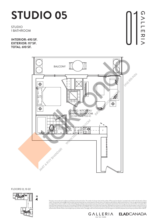 Studio 05 Floor Plan at Galleria on the Park Condos - 493 sq.ft