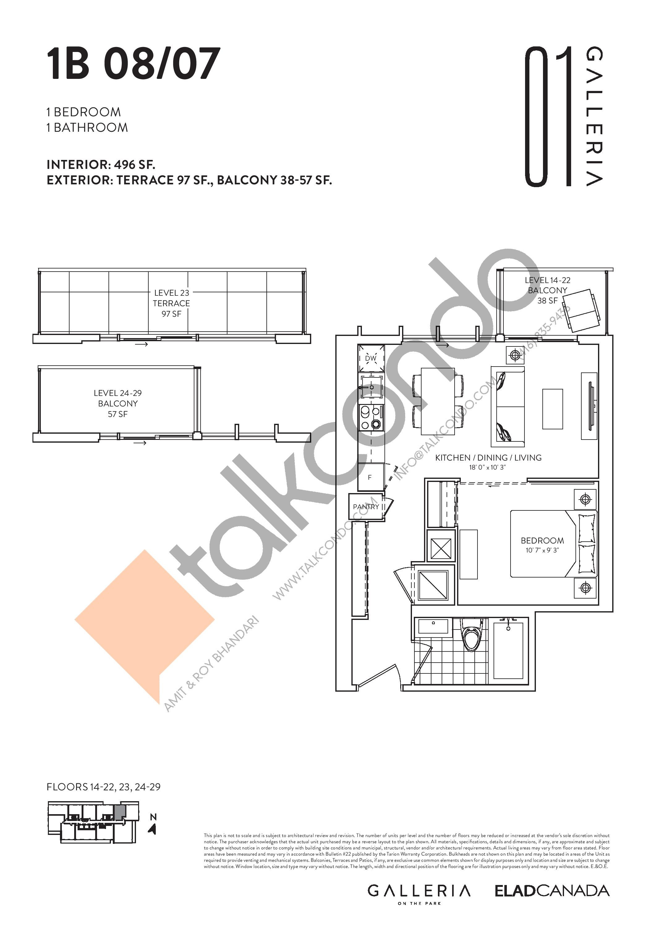 1B 08/07 Floor Plan at Galleria on the Park Condos - 496 sq.ft