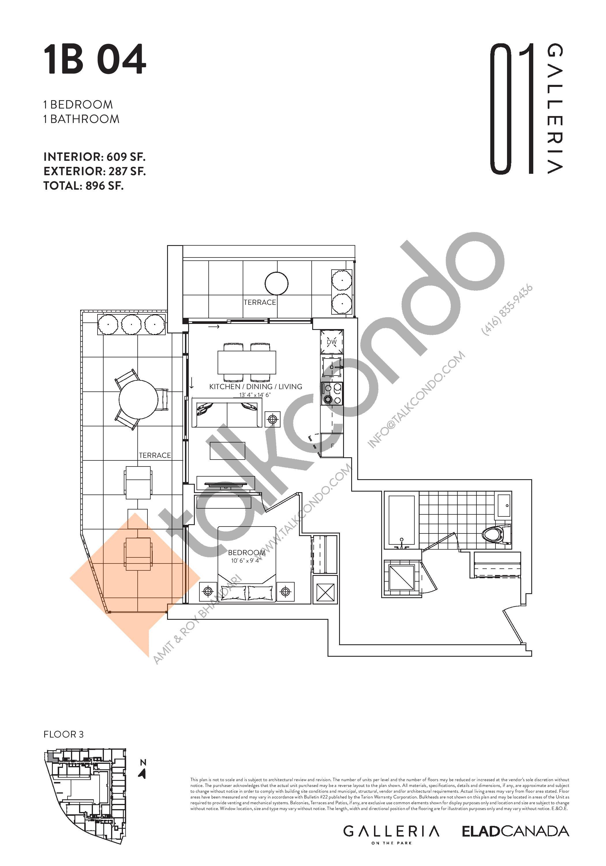 1B 04 Floor Plan at Galleria on the Park Condos - 609 sq.ft