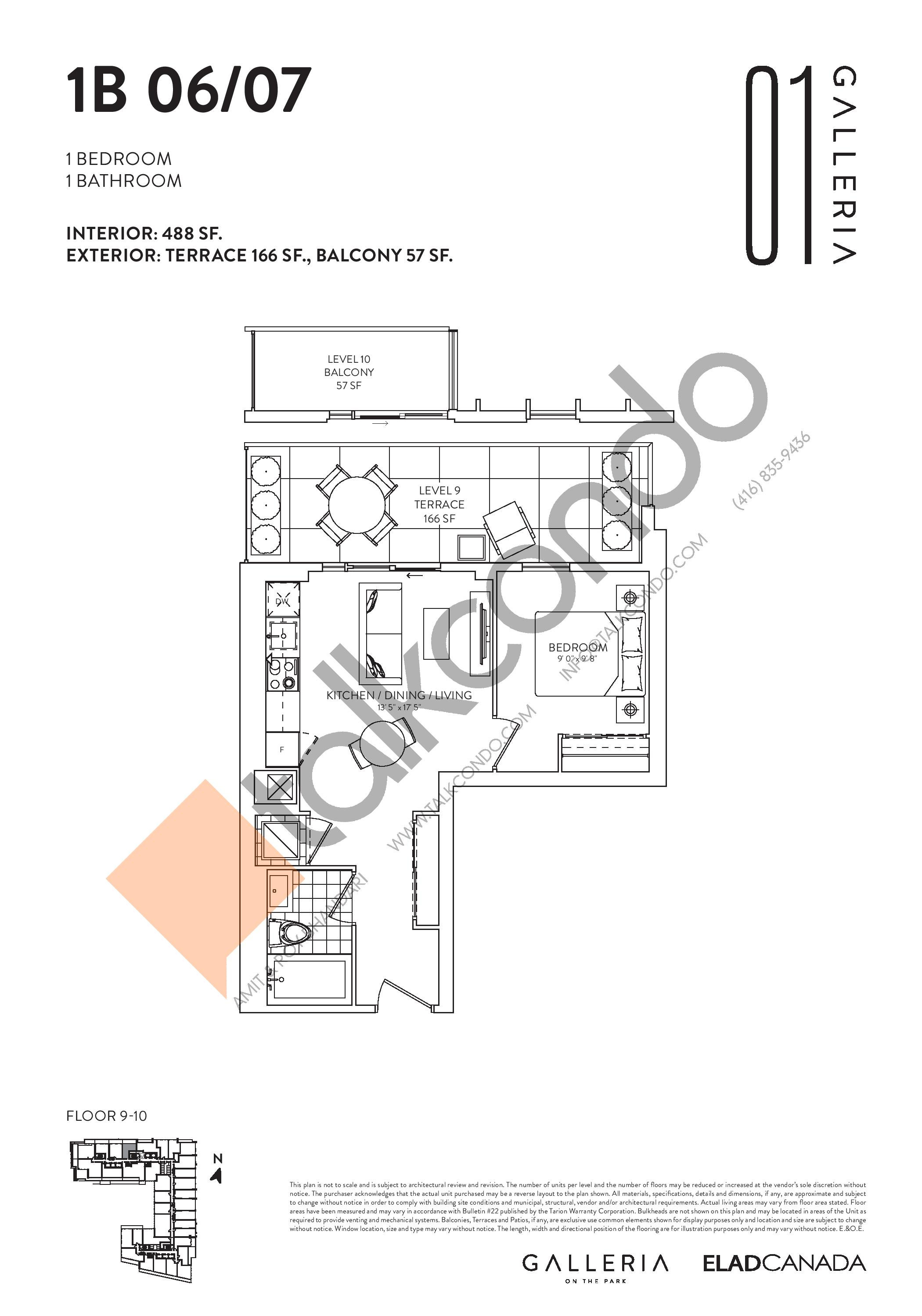 1B 06/07 Floor Plan at Galleria on the Park Condos - 488 sq.ft