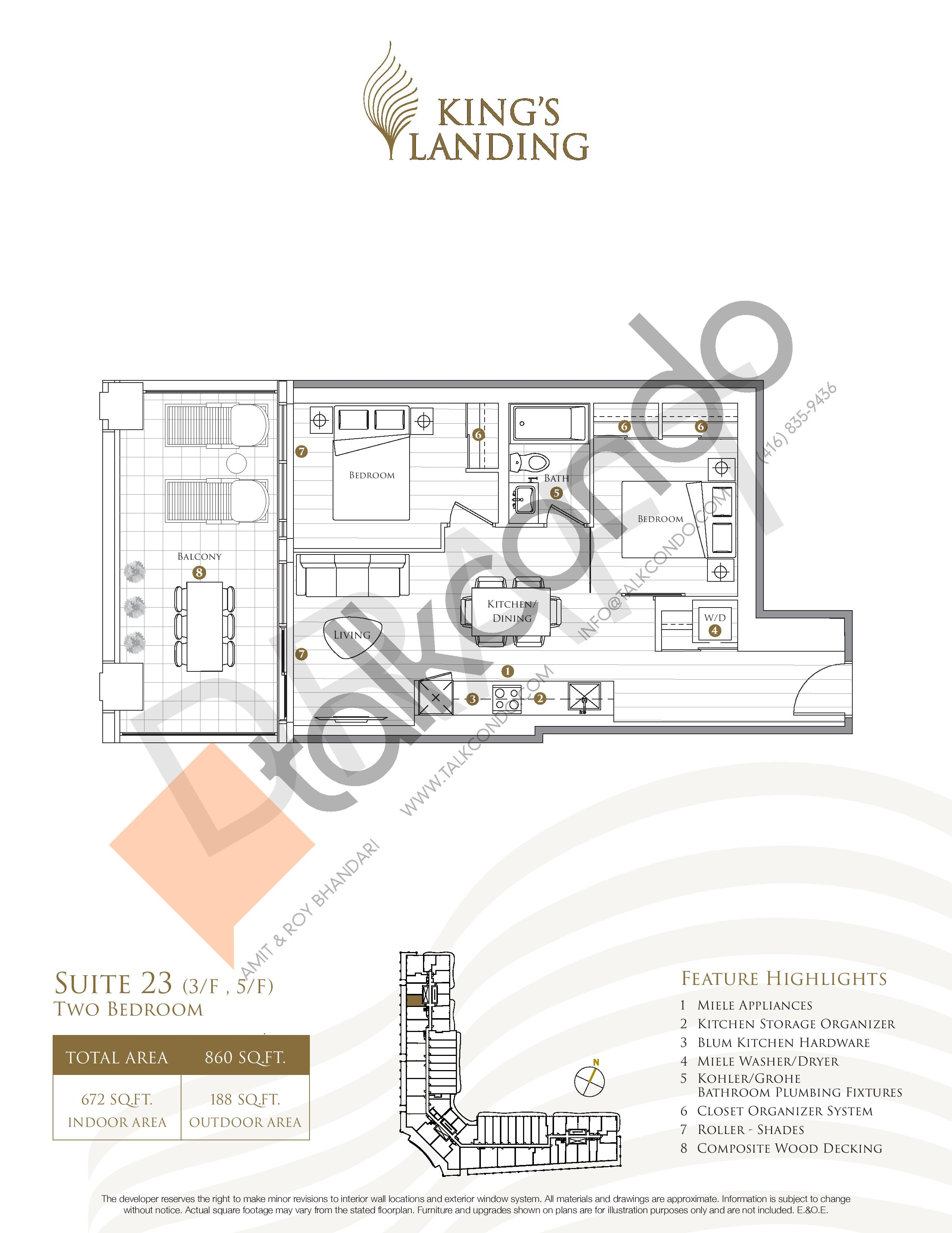 Suite 23 (3/F , 5/F) Floor Plan at King's Landing Phase 3 Condos - 672 sq.ft