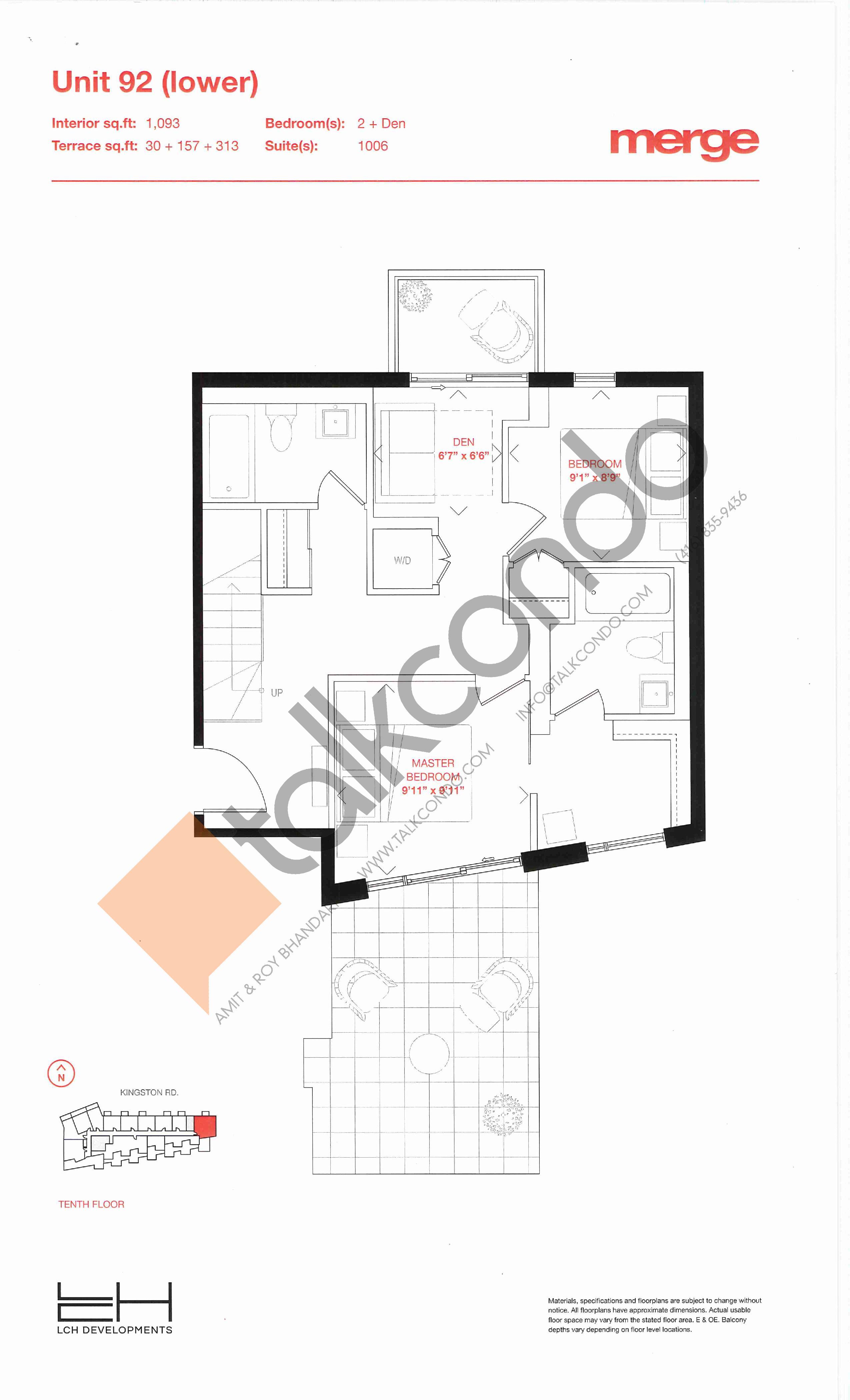 Unit 92 (Lower) Floor Plan at Merge Condos - 1093 sq.ft