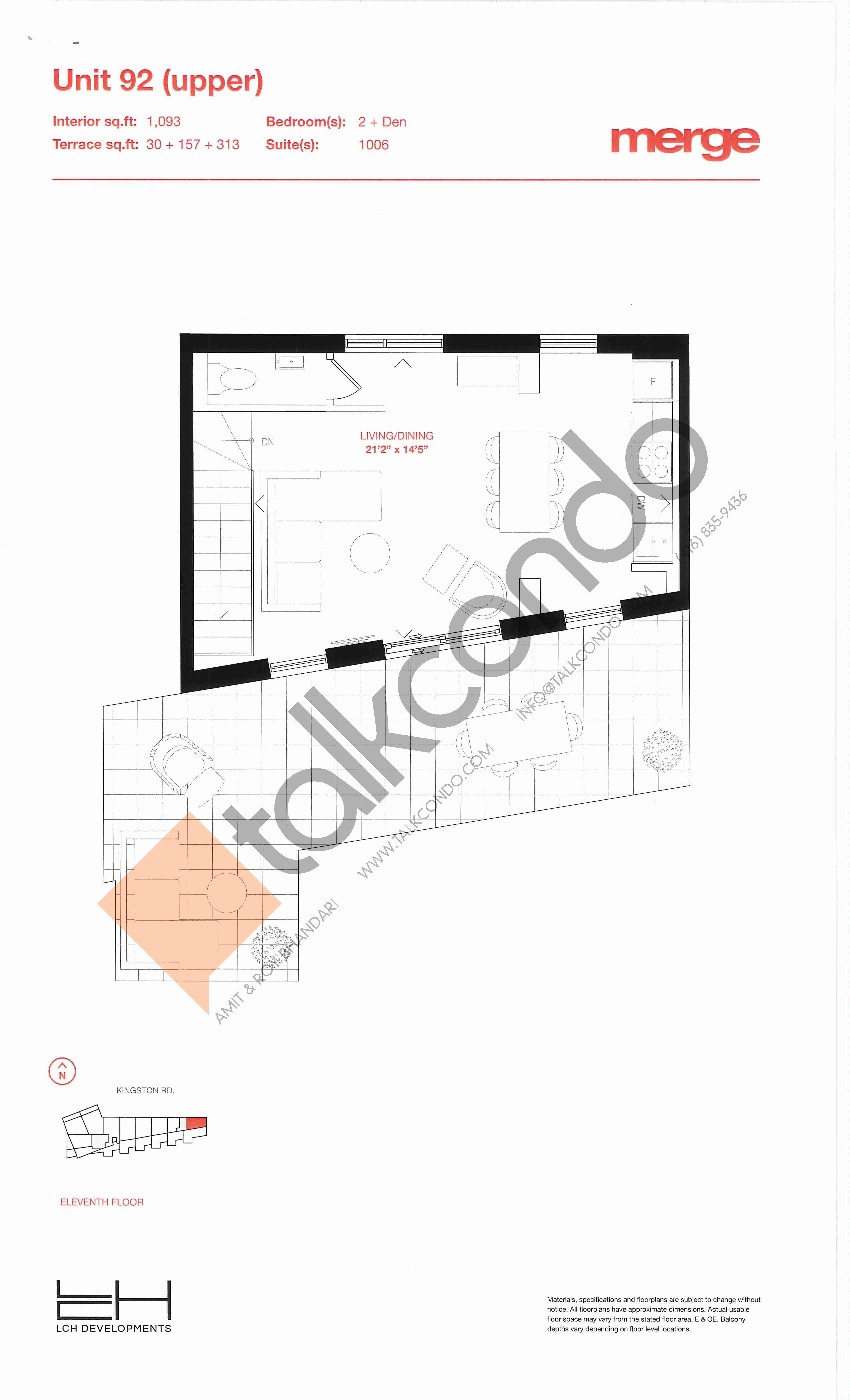Unit 92 (Upper) Floor Plan at Merge Condos - 1093 sq.ft